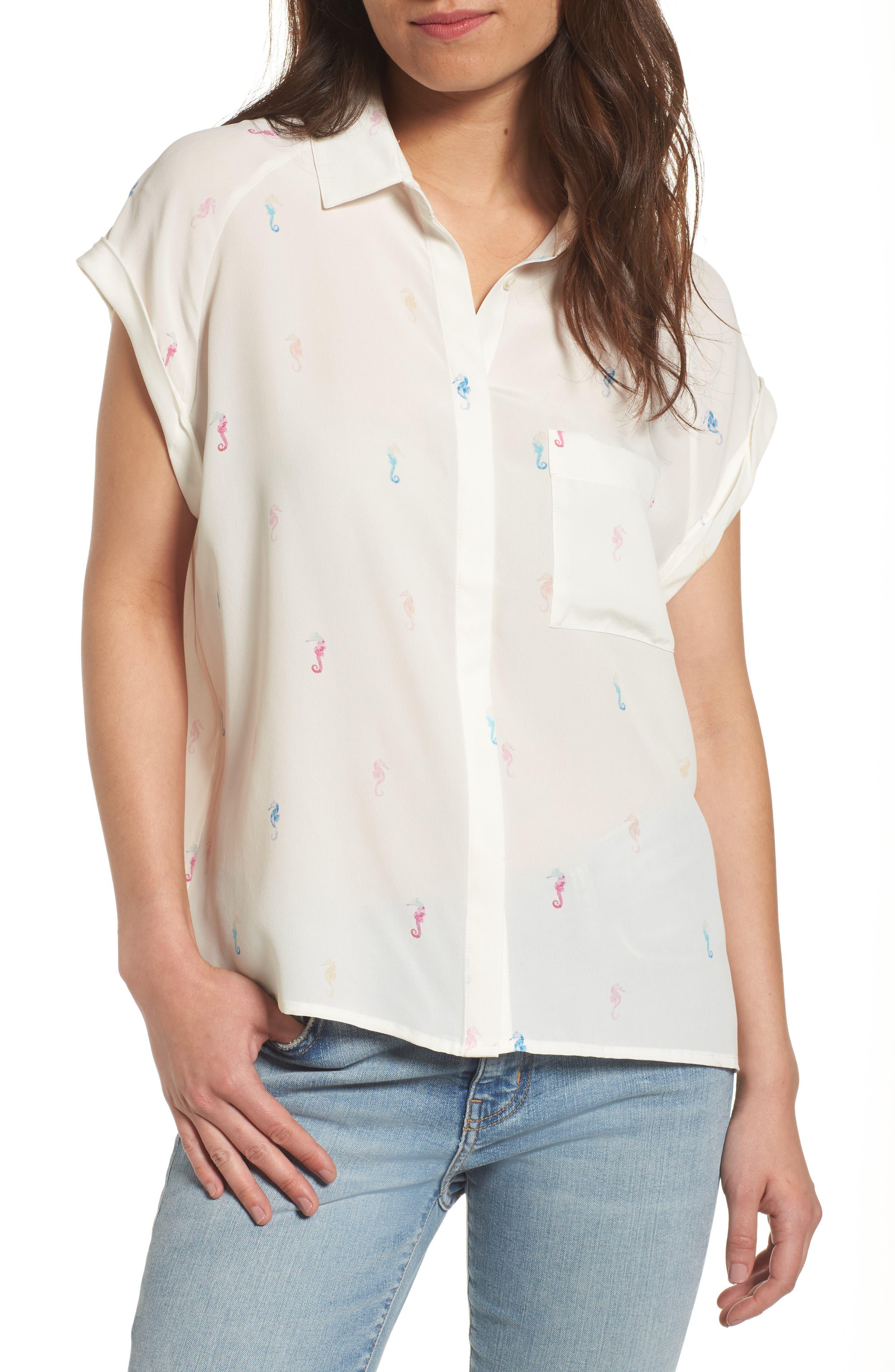 RAILS Chase Seahorse Print Silk Shirt
