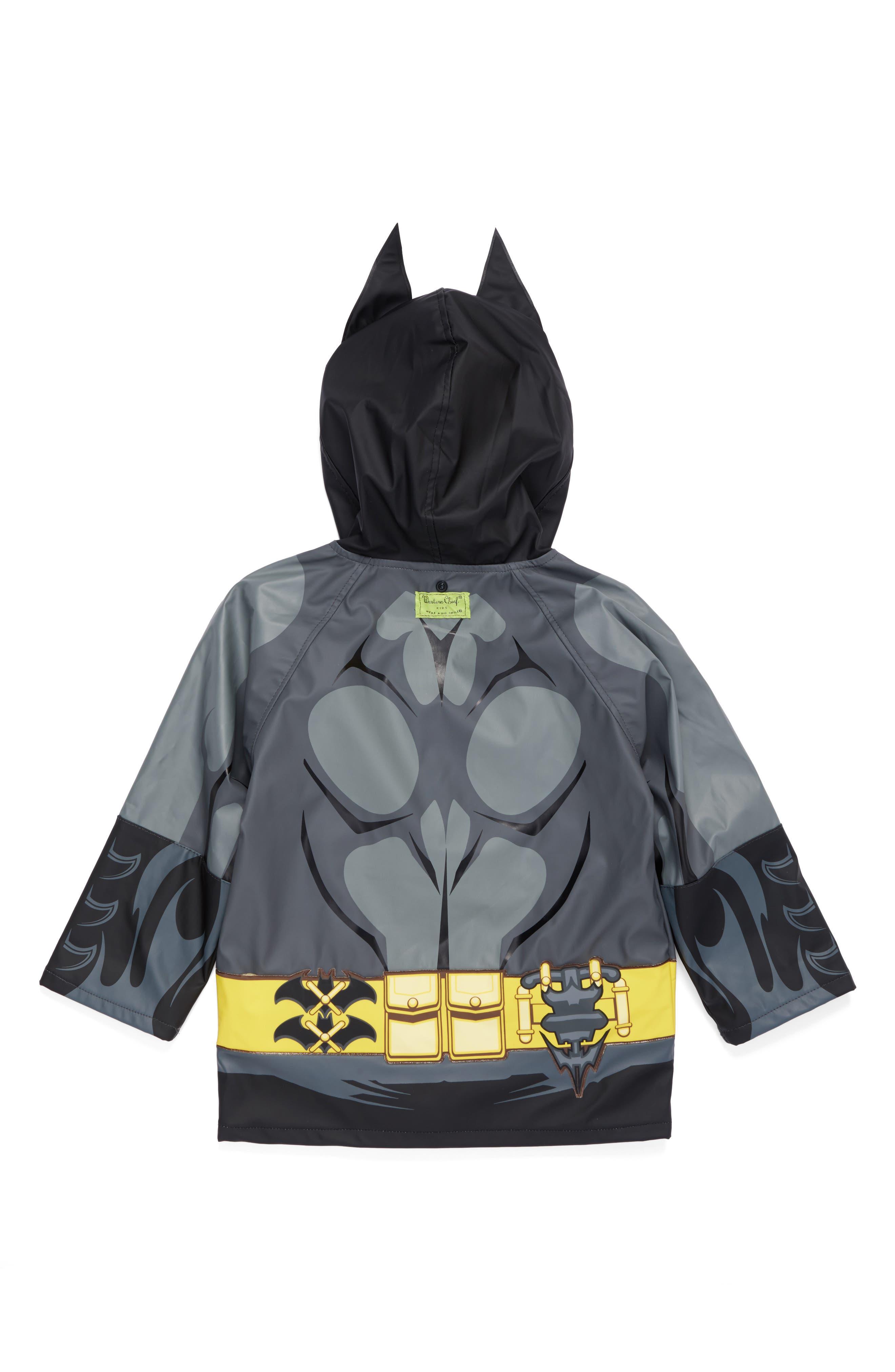Batman Everlasting Hooded Raincoat,                             Alternate thumbnail 2, color,                             Black