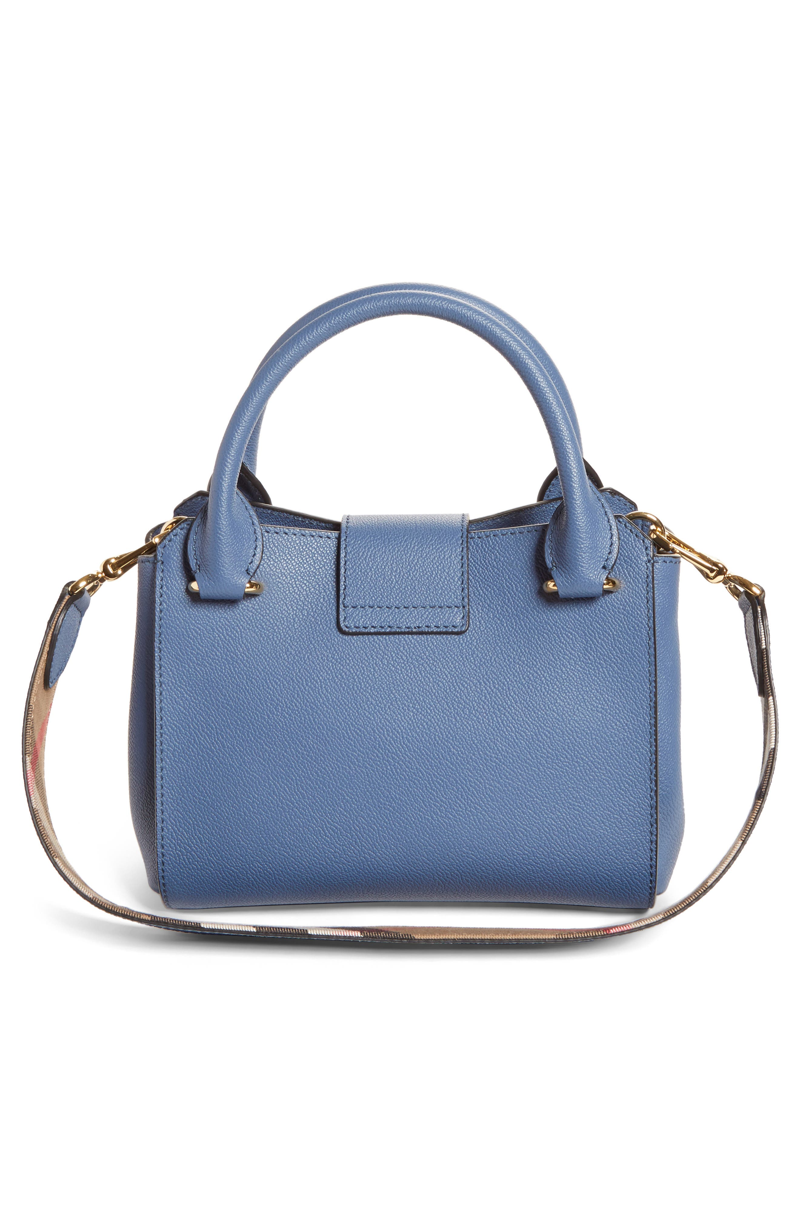 Small Buckle Leather Satchel,                             Alternate thumbnail 3, color,                             Steel Blue