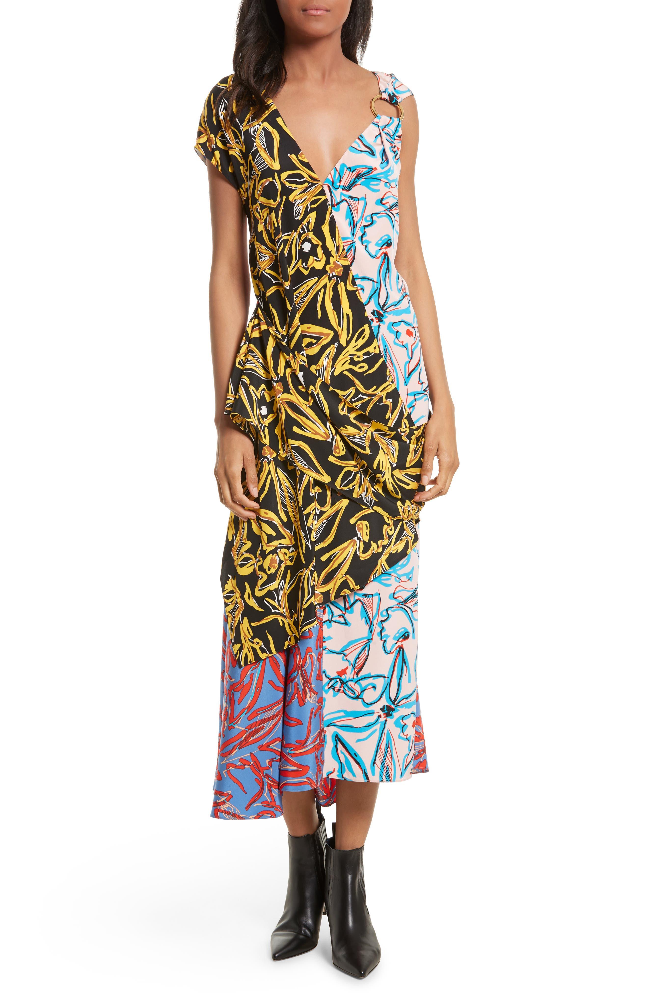 DIANE VON FURSTENBERG Asymmetrical Mixed Print Silk Maxi Dress