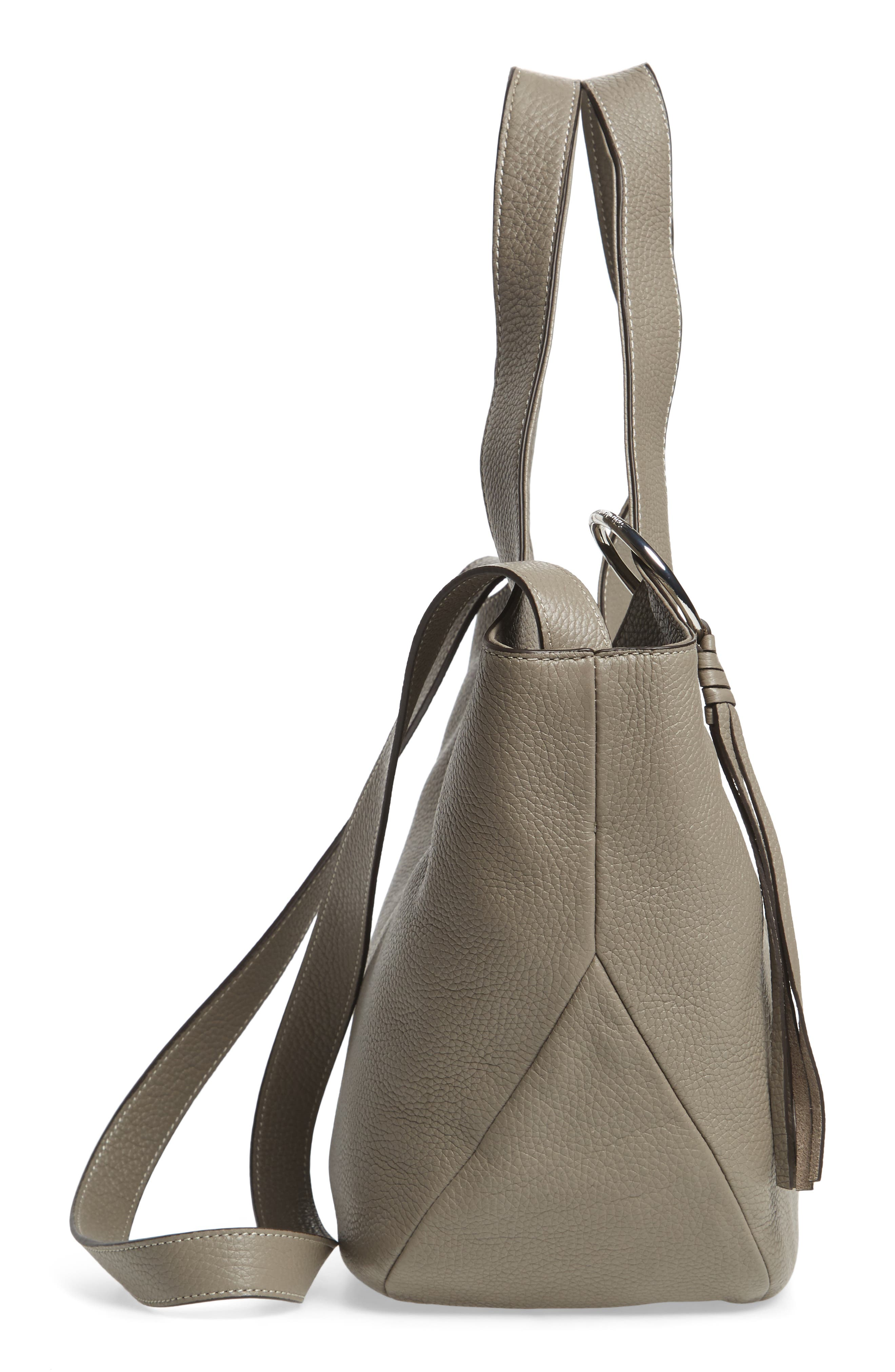 Small Finley Leather Shopper,                             Alternate thumbnail 3, color,                             Dove Grey