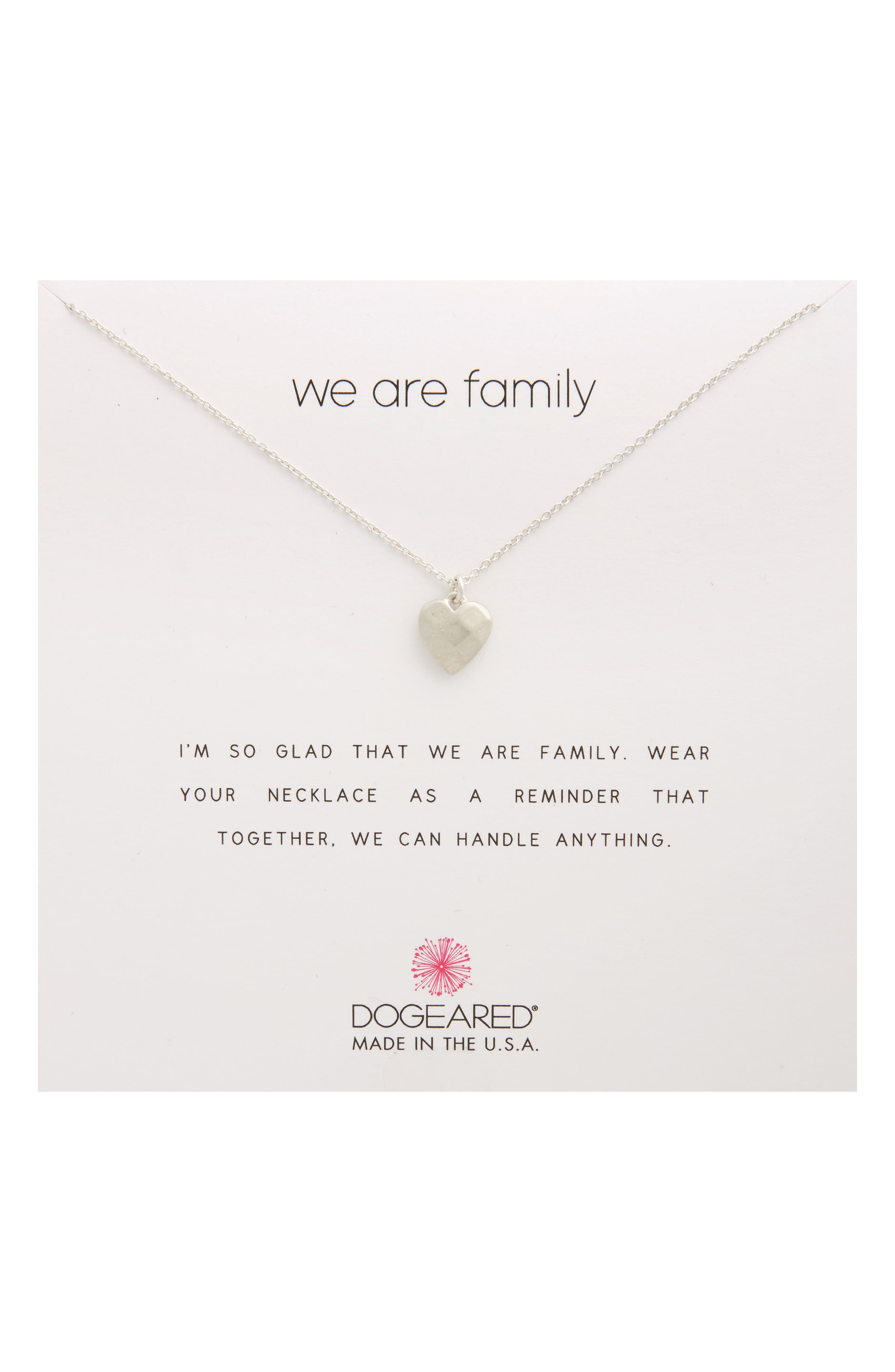 We Are Family Pendant Necklace,                         Main,                         color, Silver