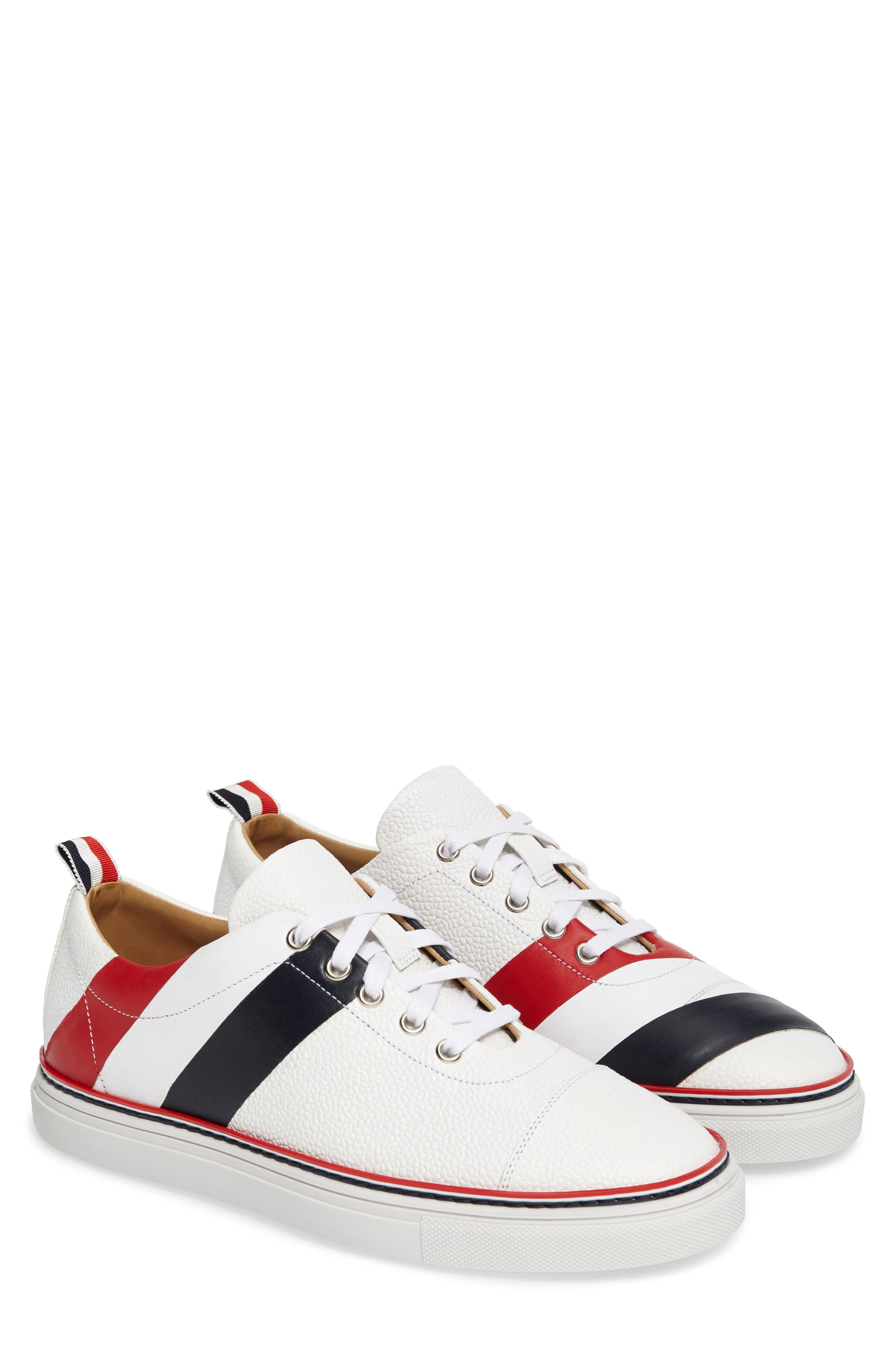 Asymmetrical Stripe Sneaker,                         Main,                         color, 100 White