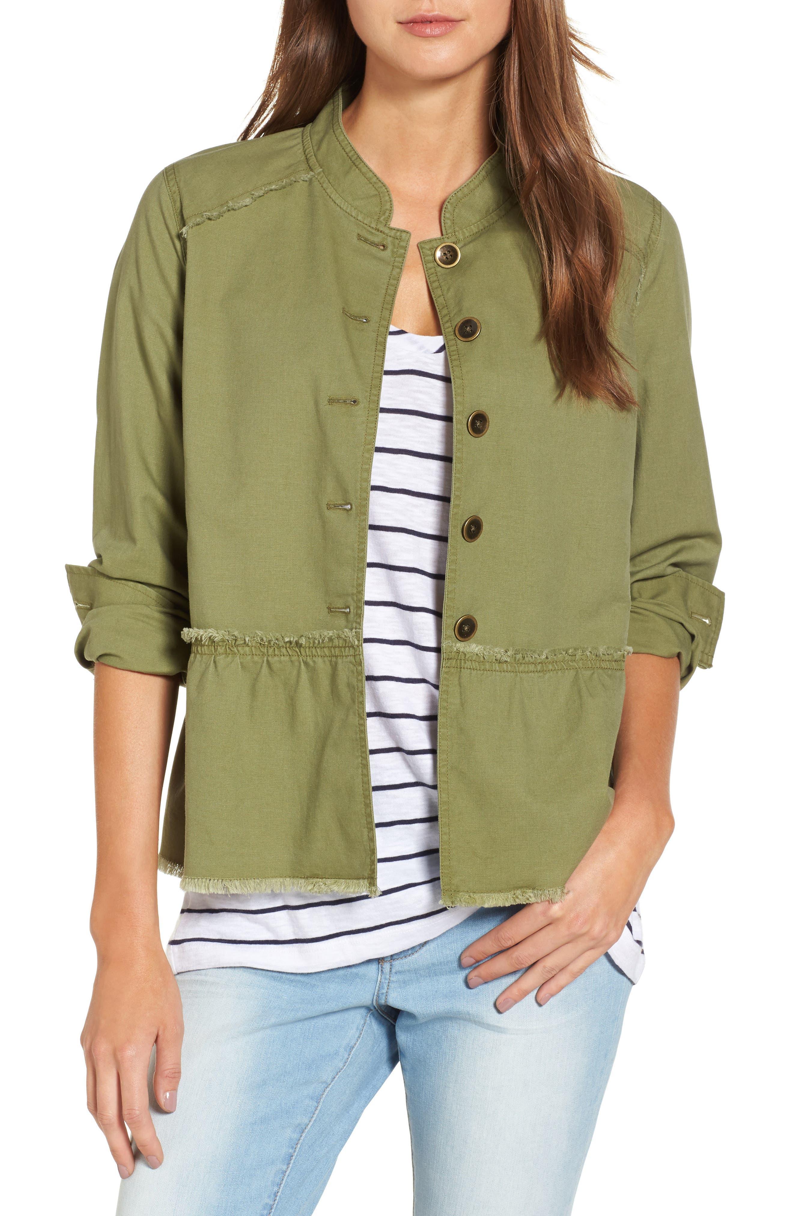 Alternate Image 1 Selected - Caslon® Twill Peplum Jacket (Regular & Petite)