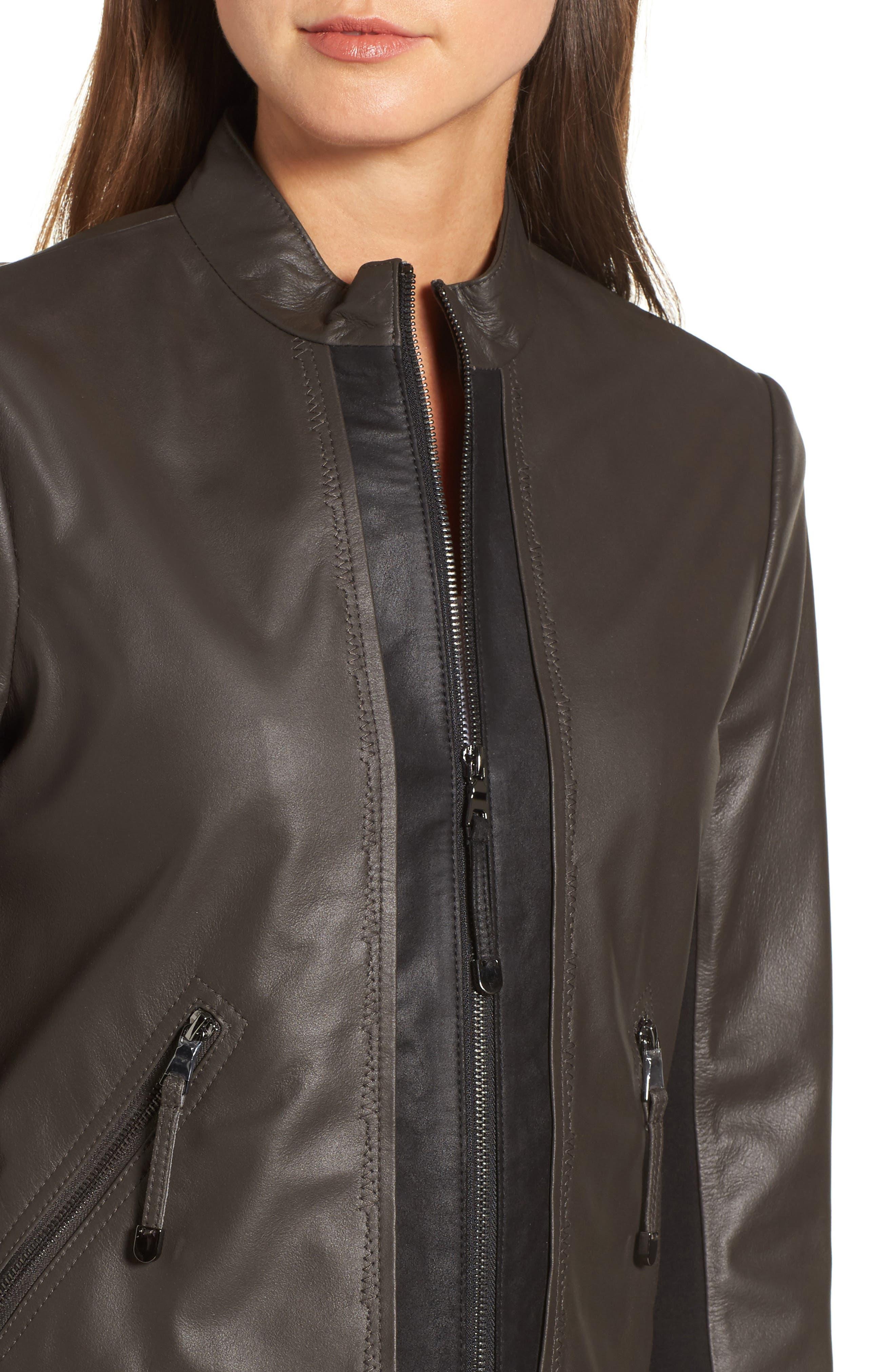 Alternate Image 4  - Via Spiga Colorblock Leather Jacket