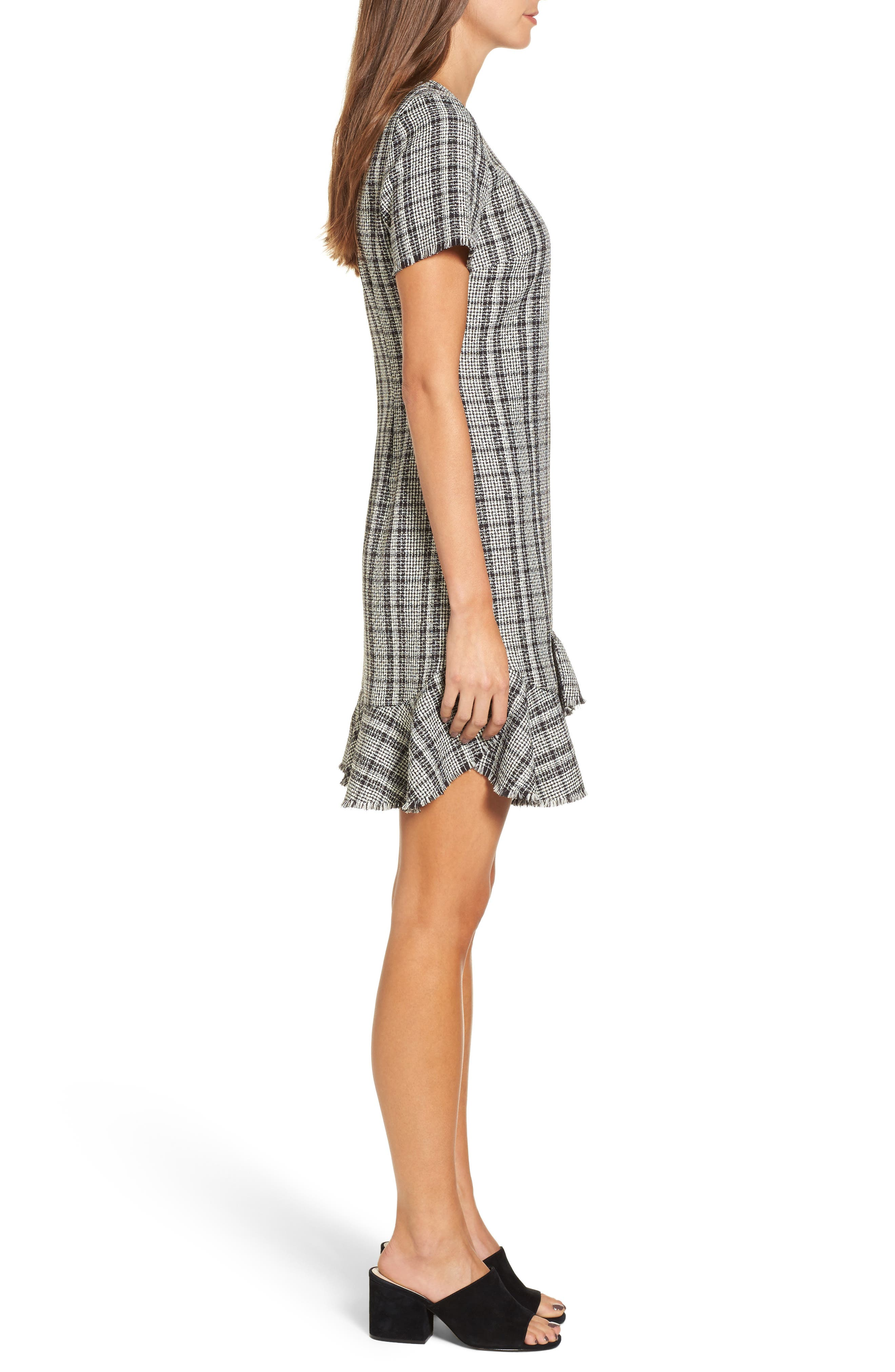 Tweed Ruffle Shift Dress,                             Alternate thumbnail 3, color,                             Black Ivory Combo