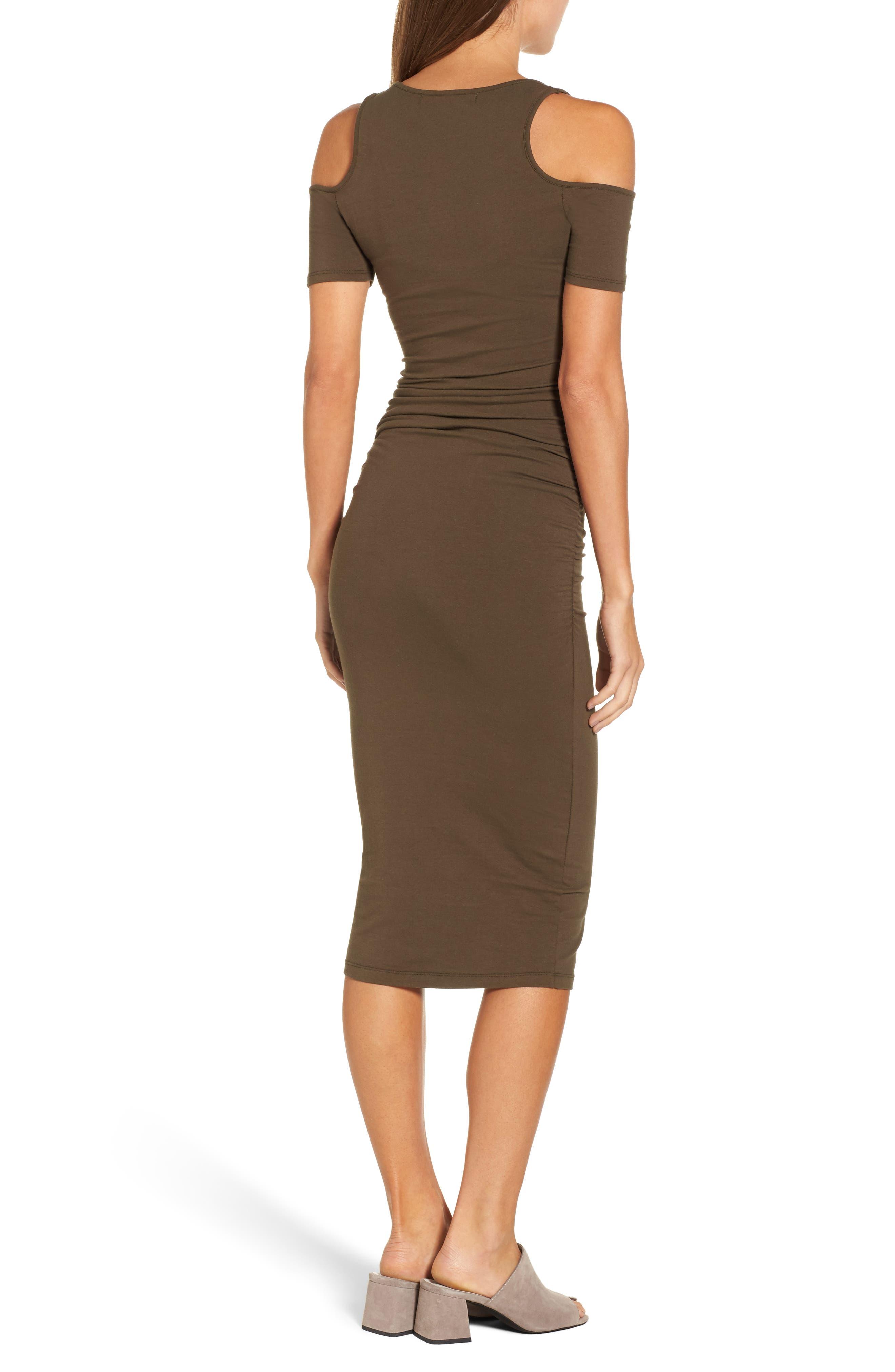 Alternate Image 2  - Michael Stars Cold Shoulder Body-Con Dress (Regular & Petite)