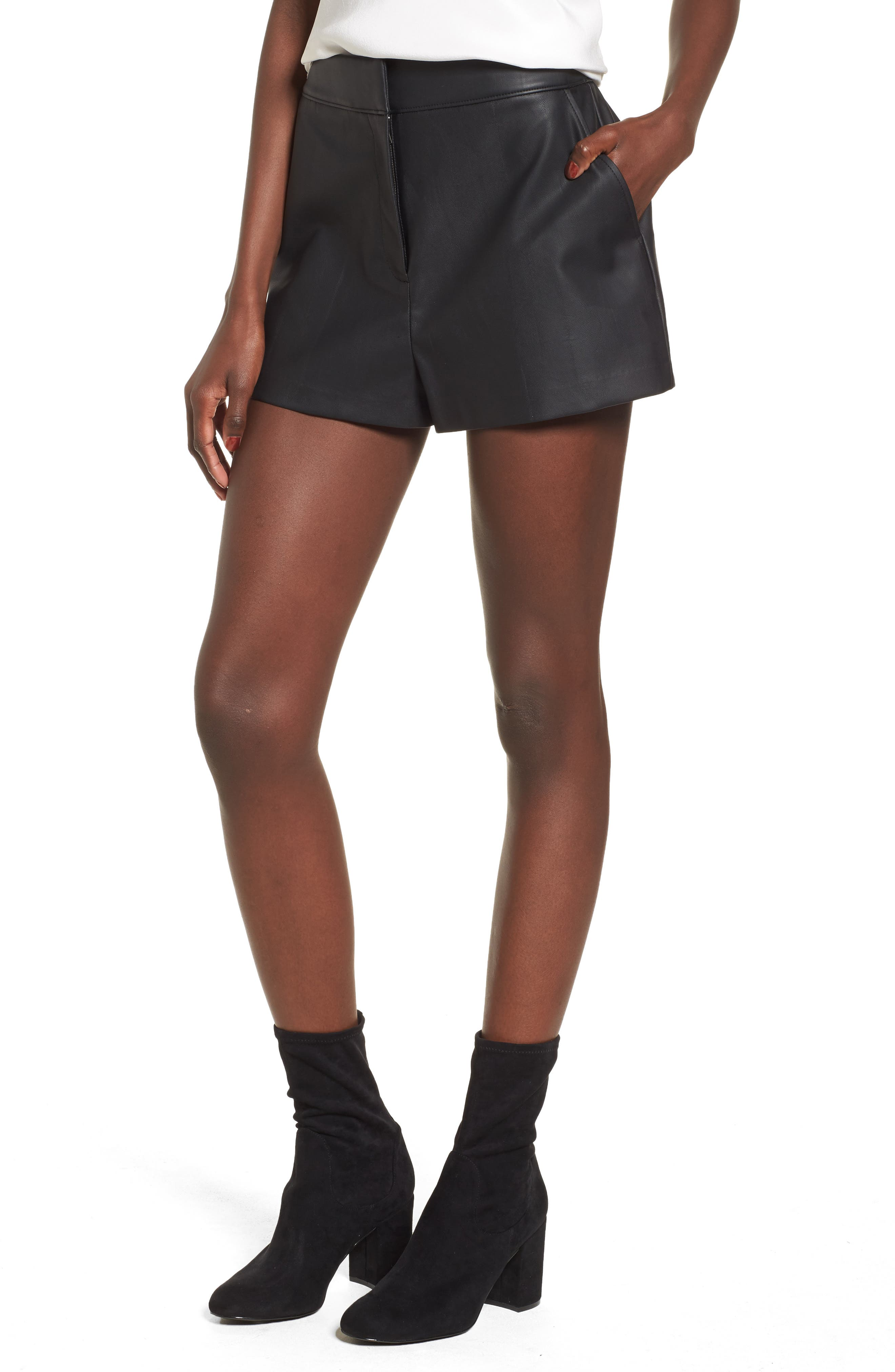 High Waist Faux Leather Shorts,                         Main,                         color, Black