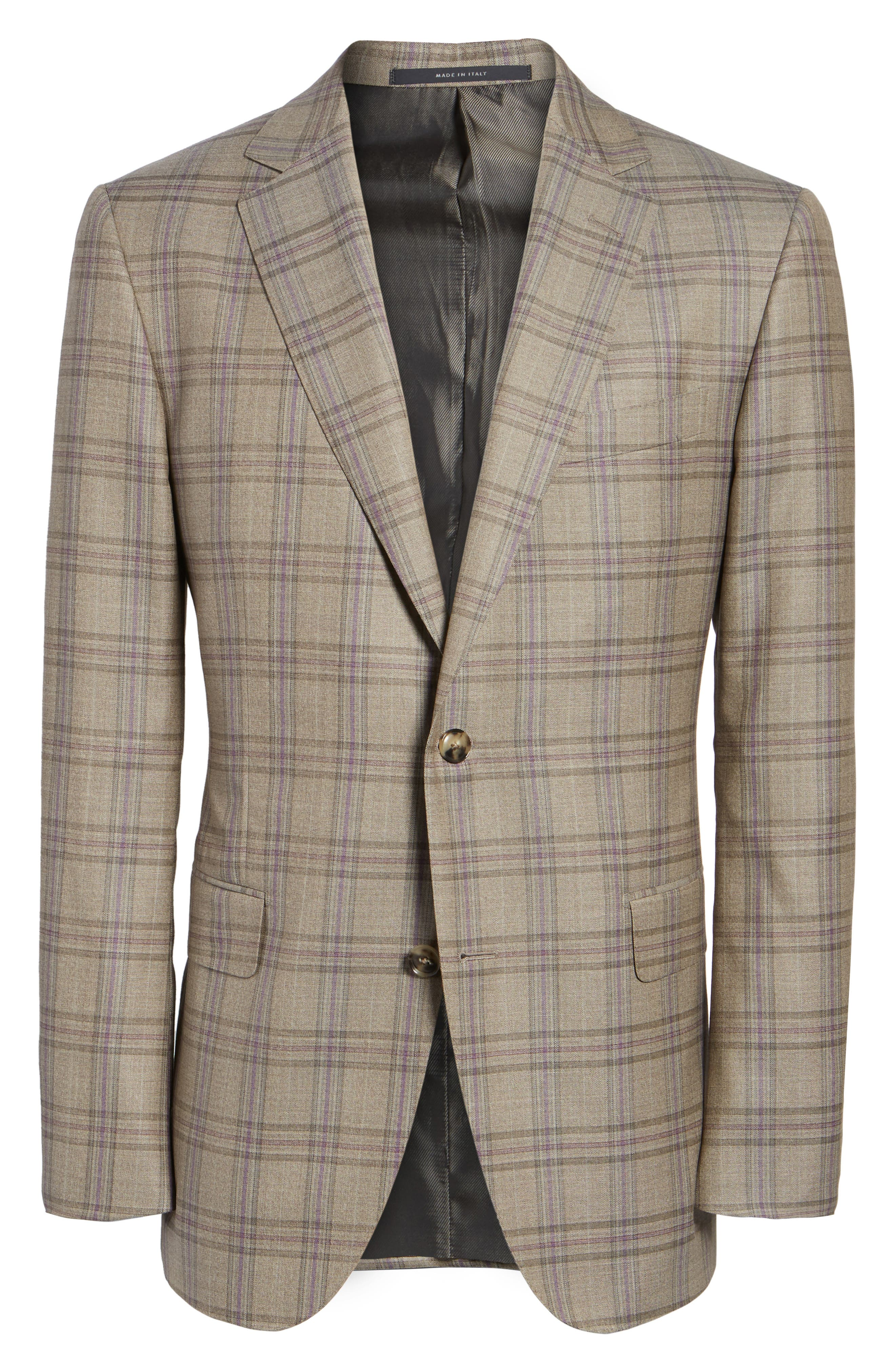 Classic Fit Plaid Wool Sport Coat,                             Alternate thumbnail 6, color,                             Light Brown