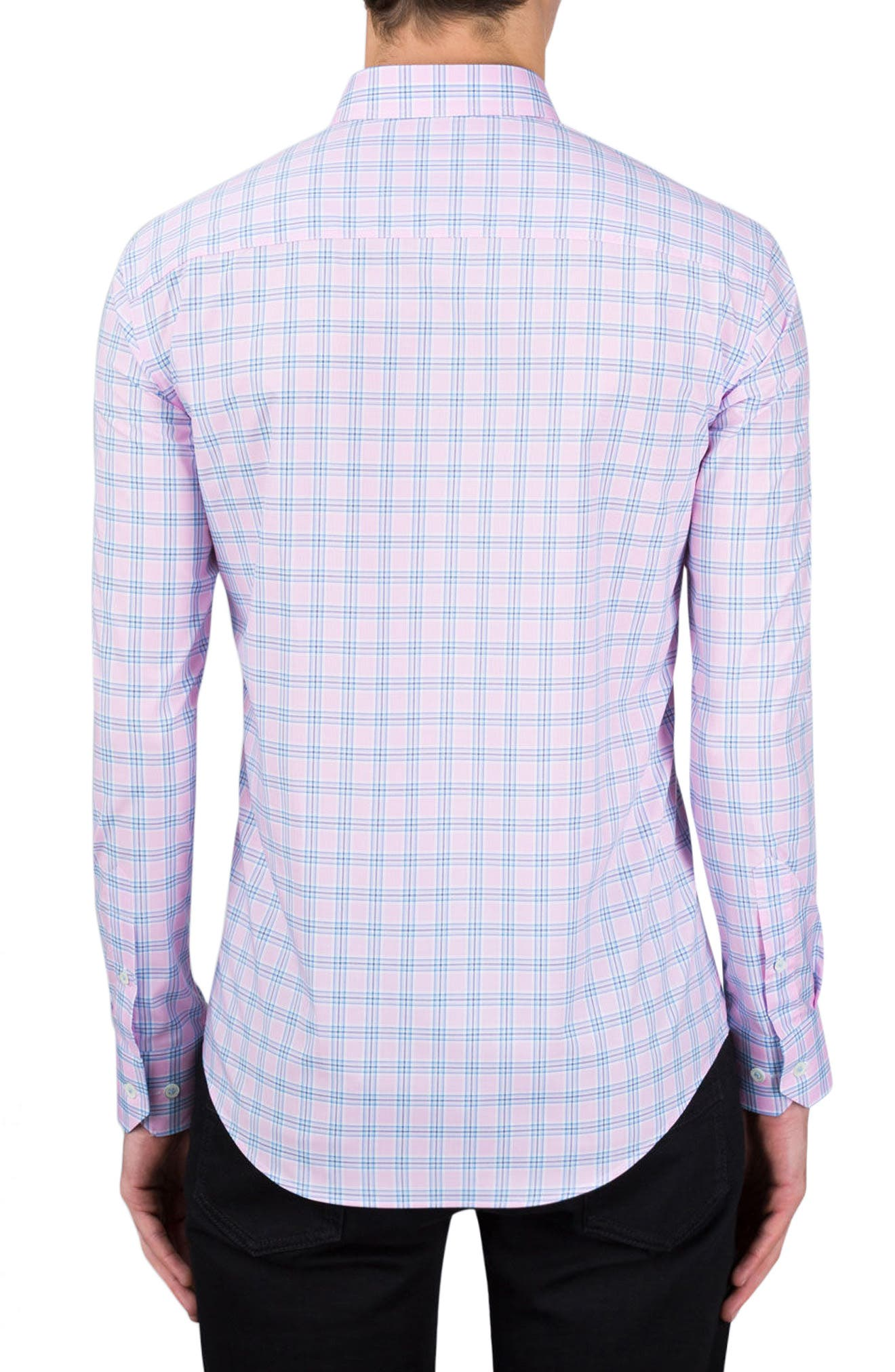 Shaped Fit Check Sport Shirt,                             Alternate thumbnail 2, color,                             Pink