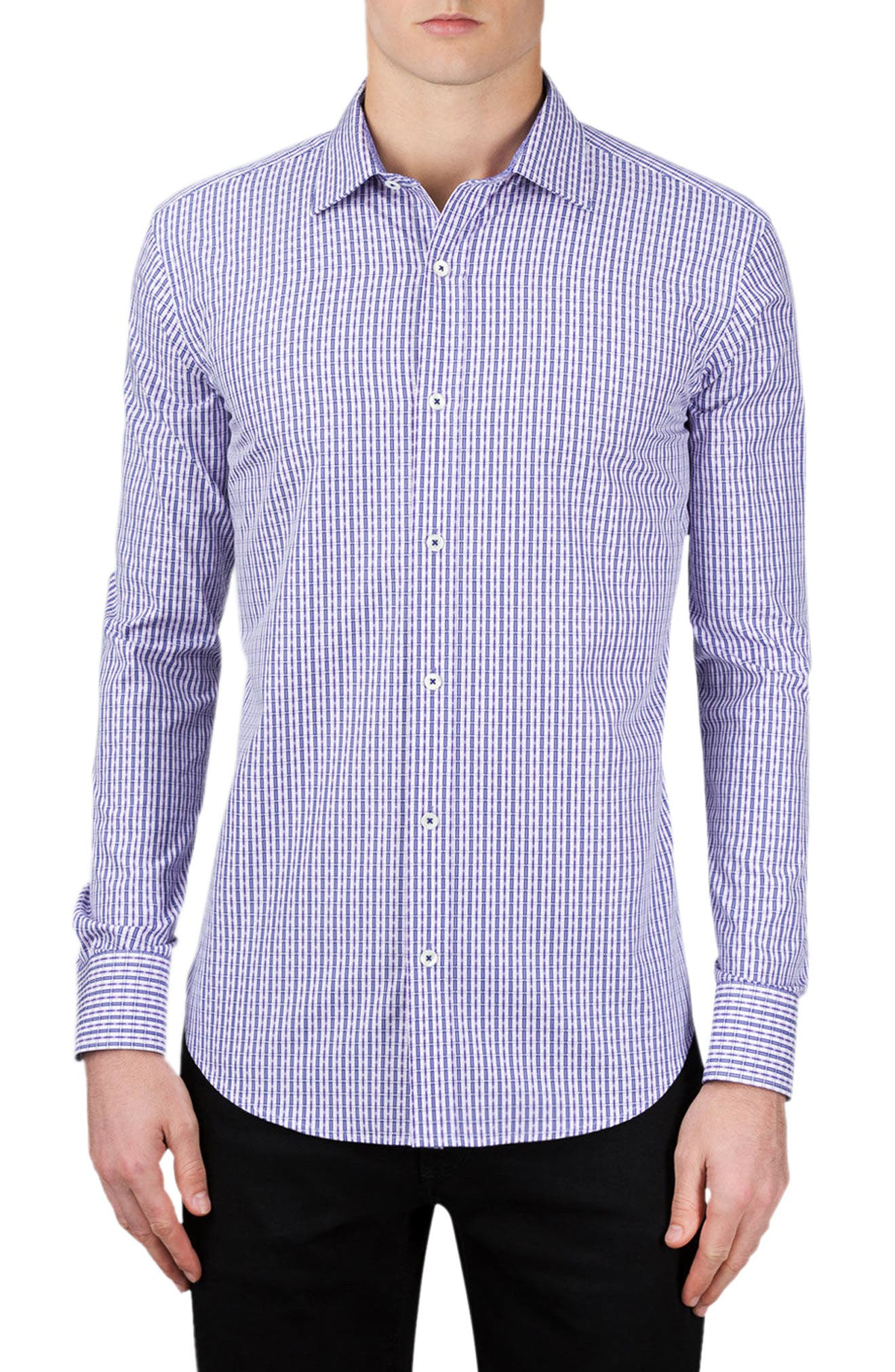 Shaped Fit Check Sport Shirt,                         Main,                         color, Lilac