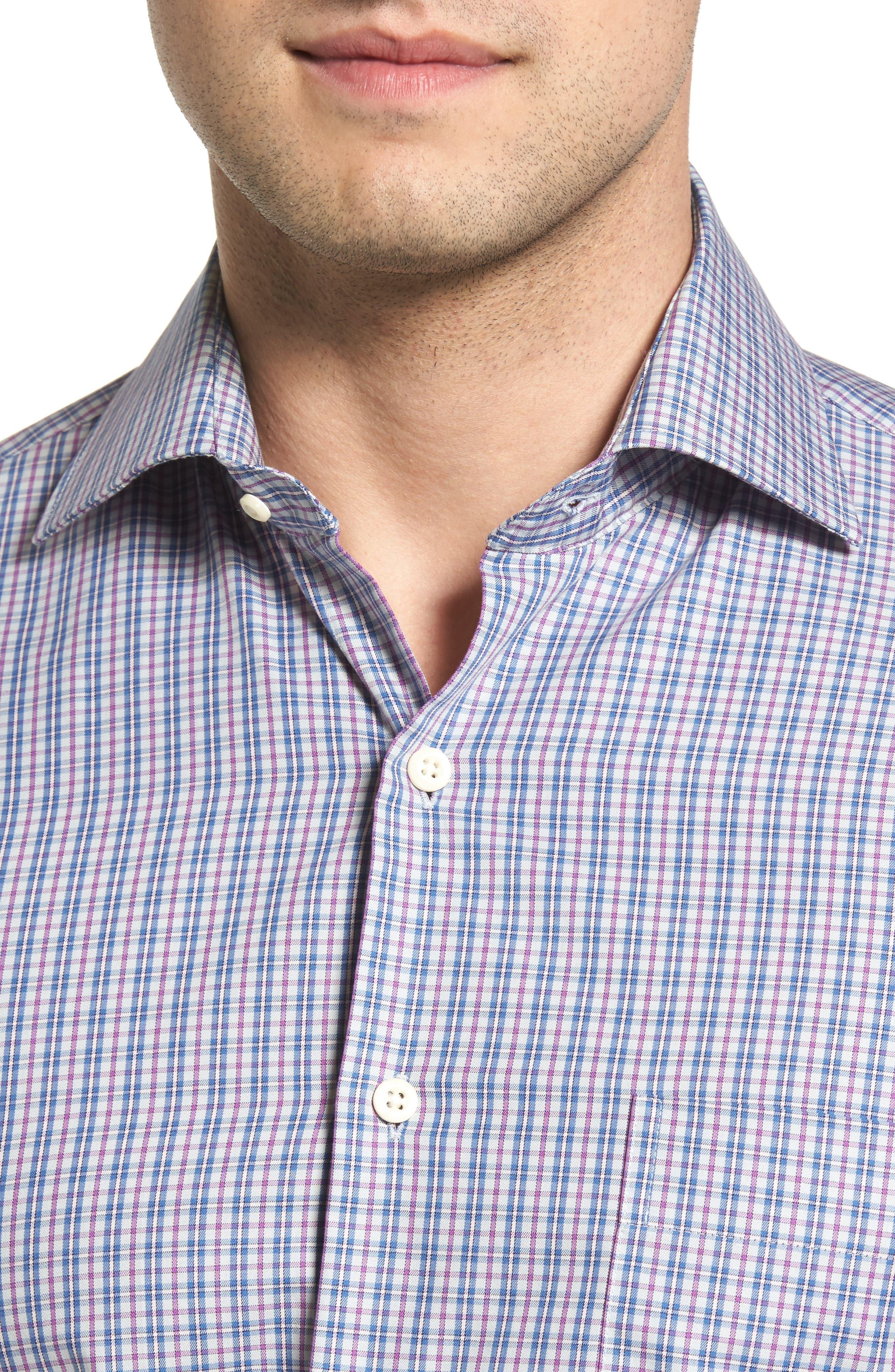 Hillock Plaid Regular Fit Sport Shirt,                             Alternate thumbnail 4, color,                             Stingray