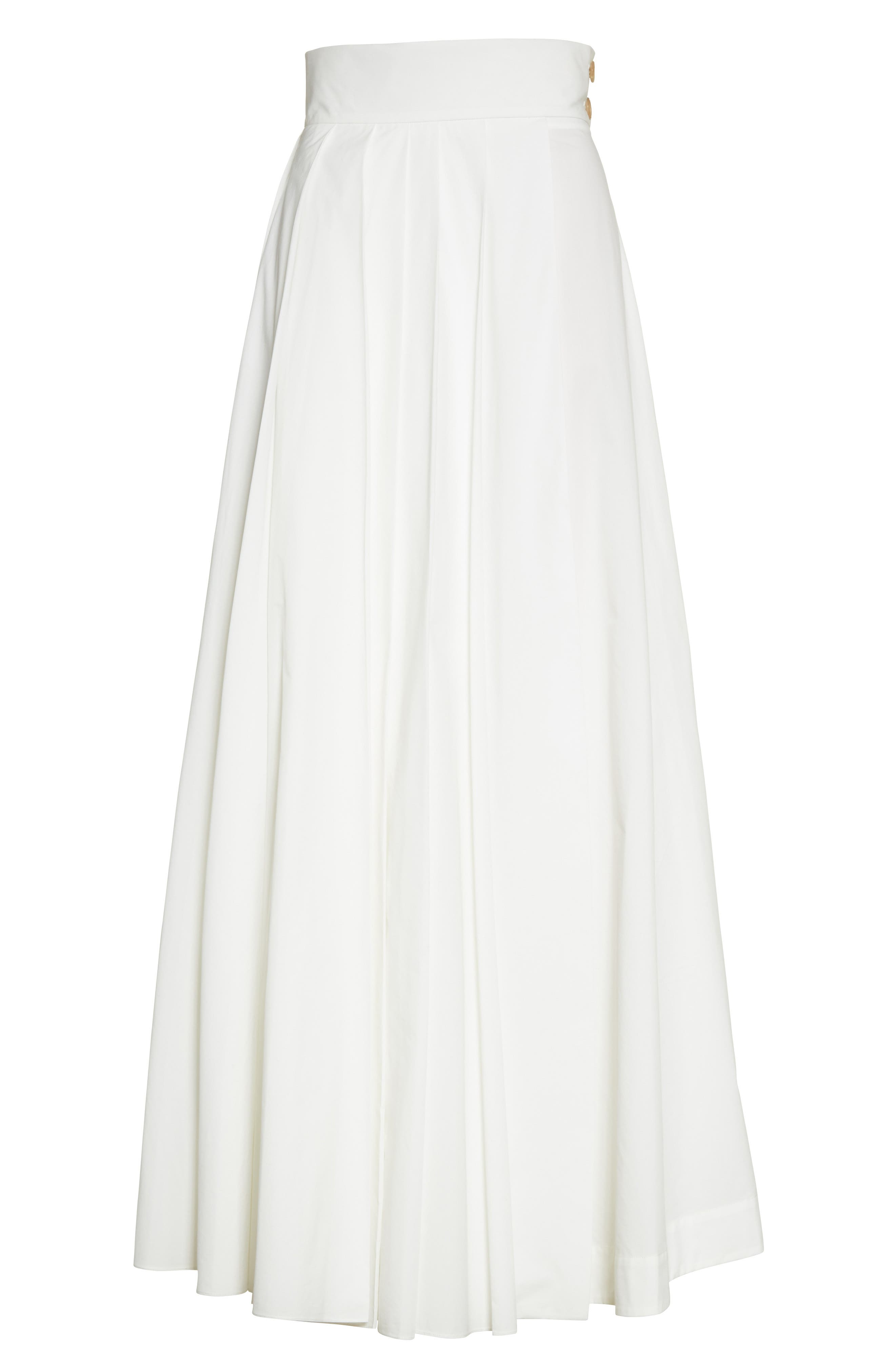 Pleated Maxi Skirt,                             Alternate thumbnail 4, color,                             White