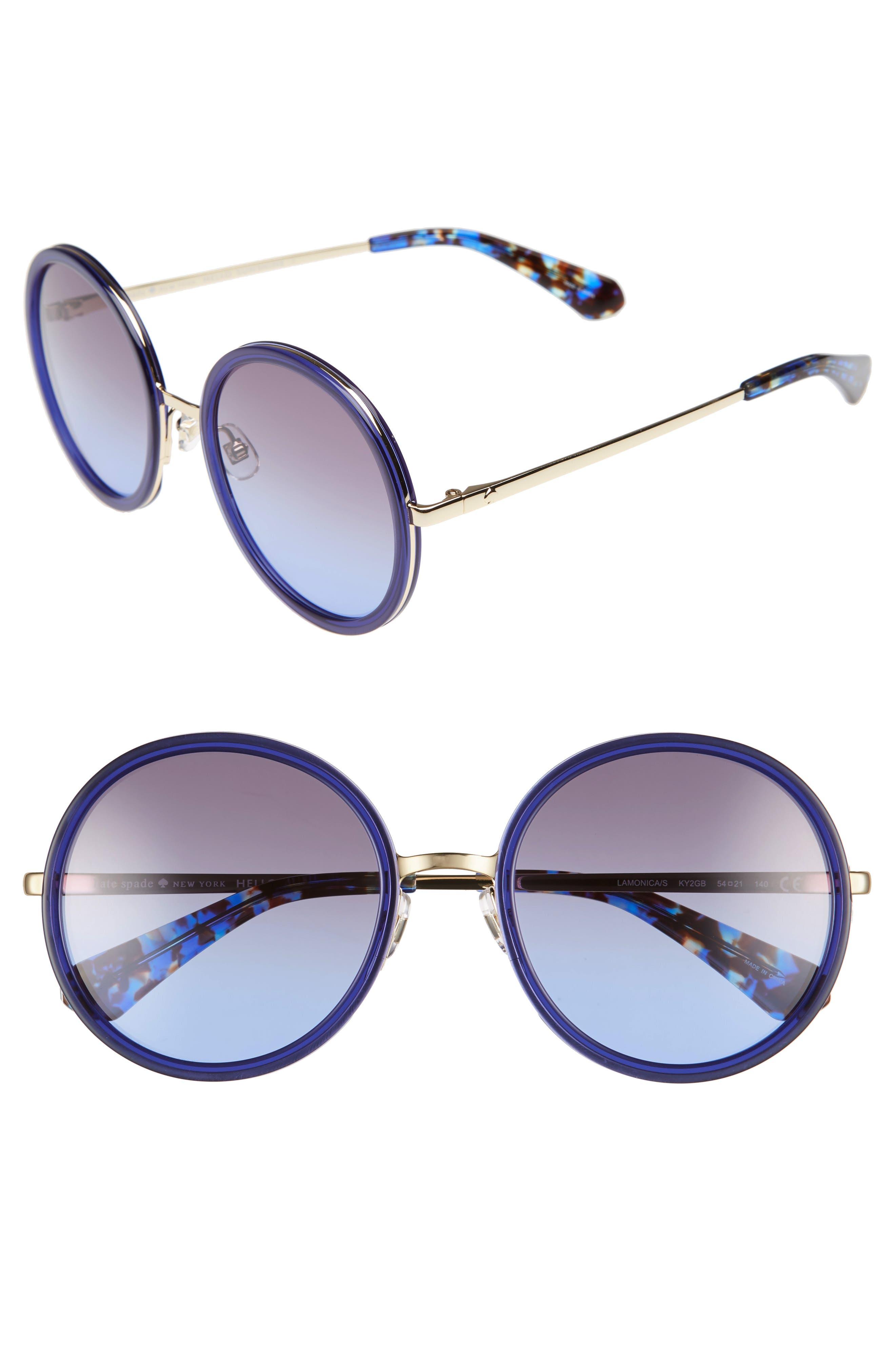 a6a264151f Kate Spade Lamonica 54Mm Gradient Lens Round Sunglasses - Blue  Gold