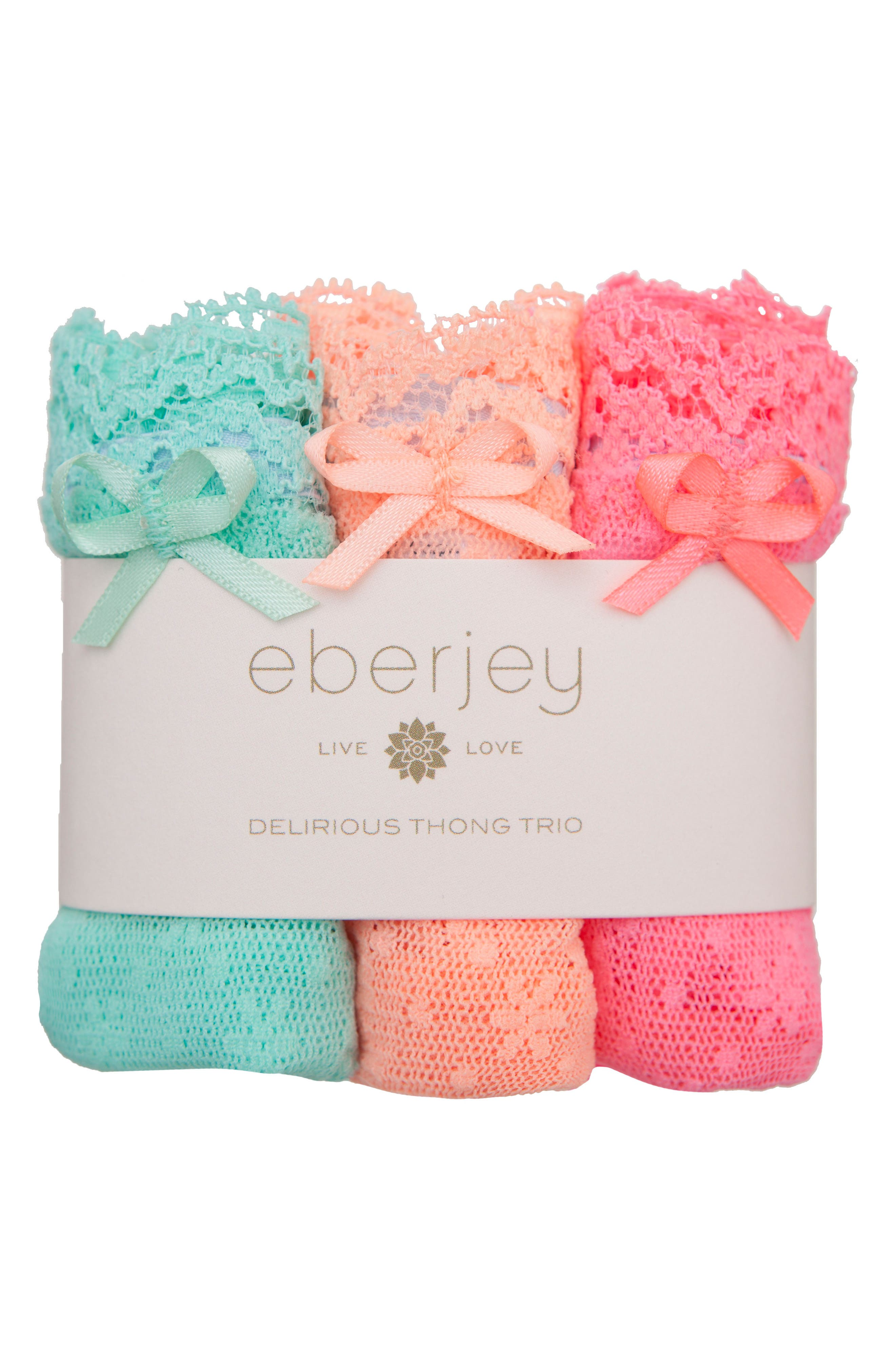 Eberjey 'Delirious' Lace Thong (3-Pack)
