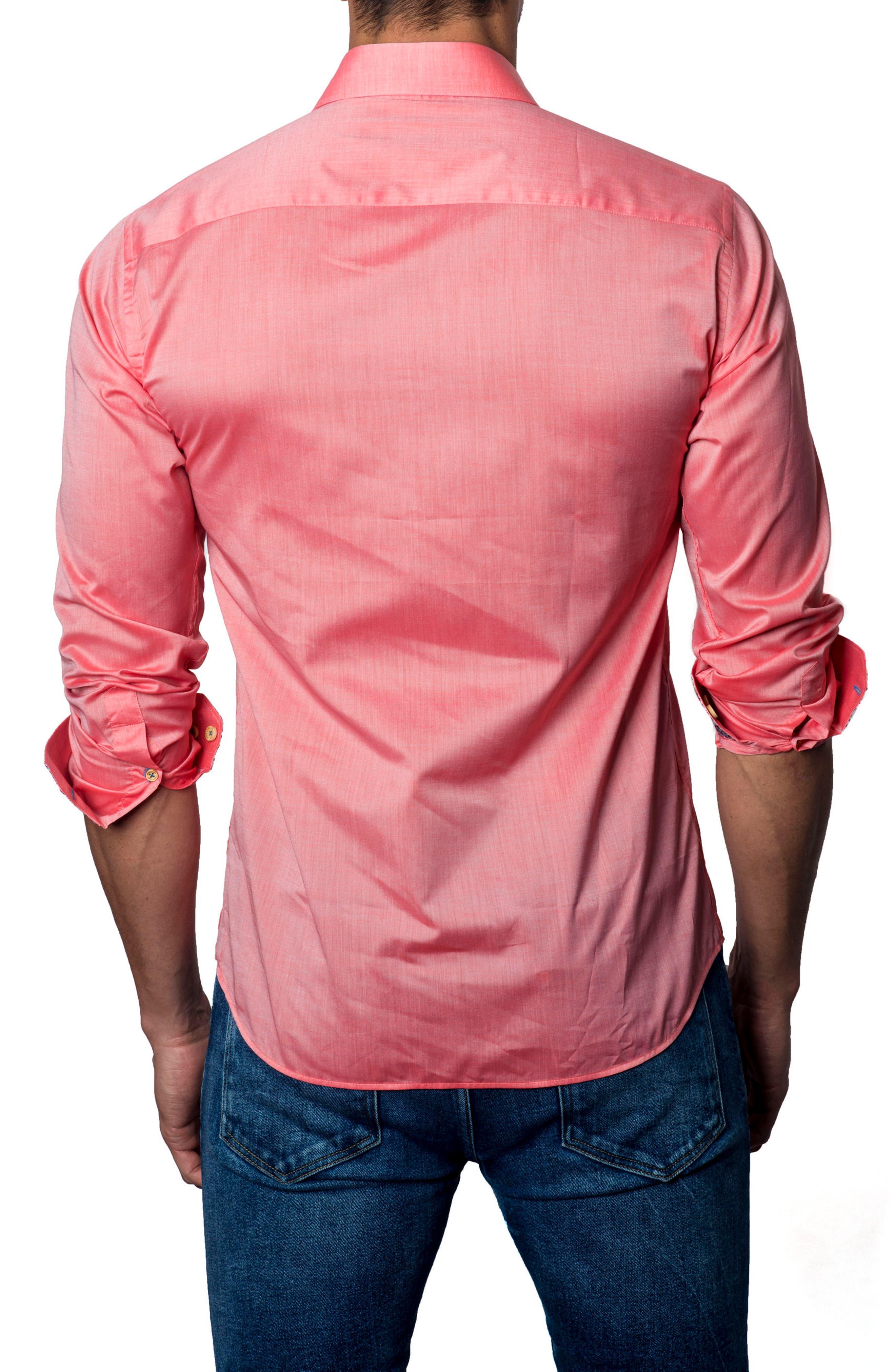 Trim Fit Sport Shirt,                             Alternate thumbnail 2, color,                             Red Pastel