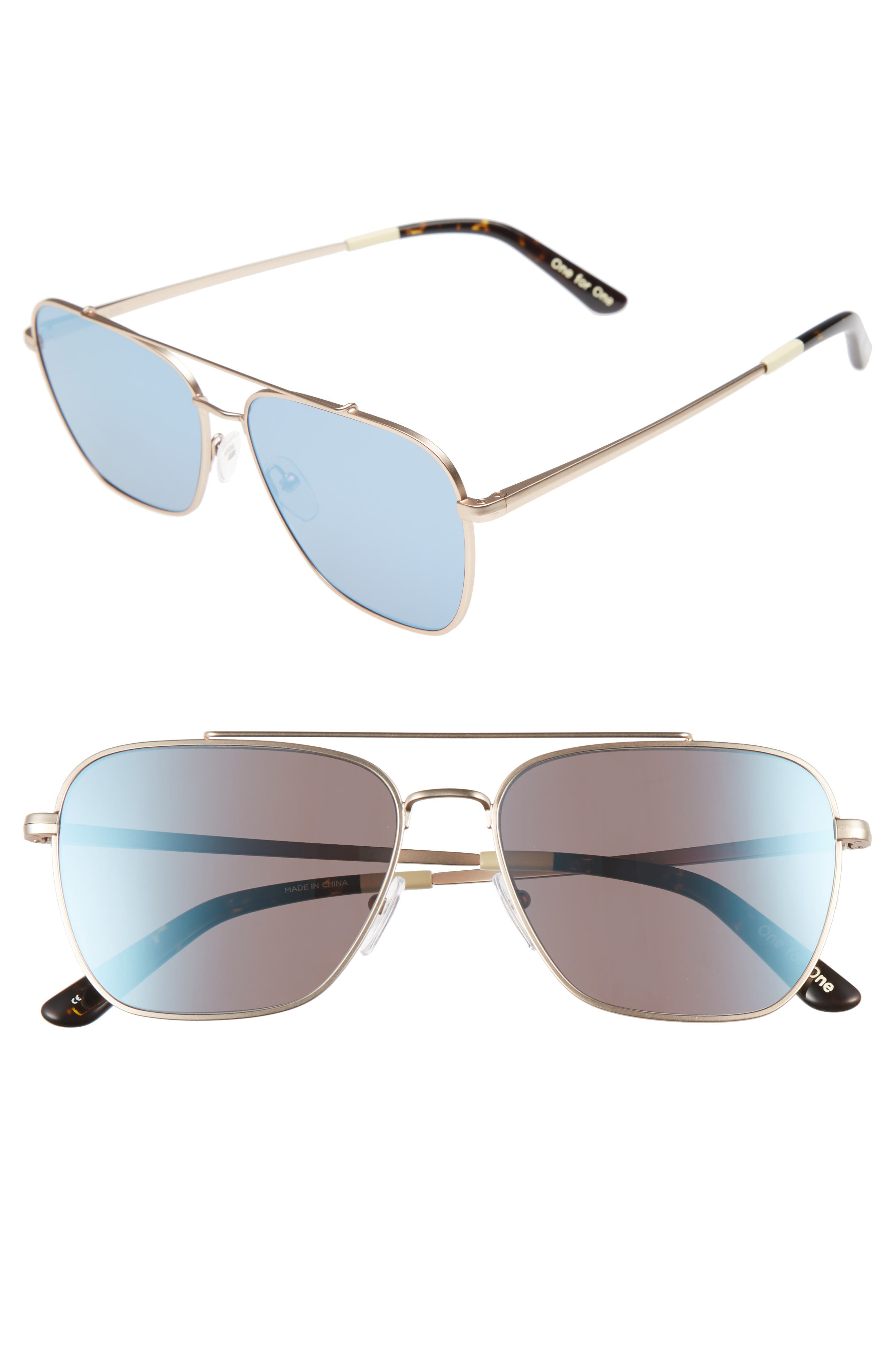 TOMS Irwin 58mm Aviator Sunglasses