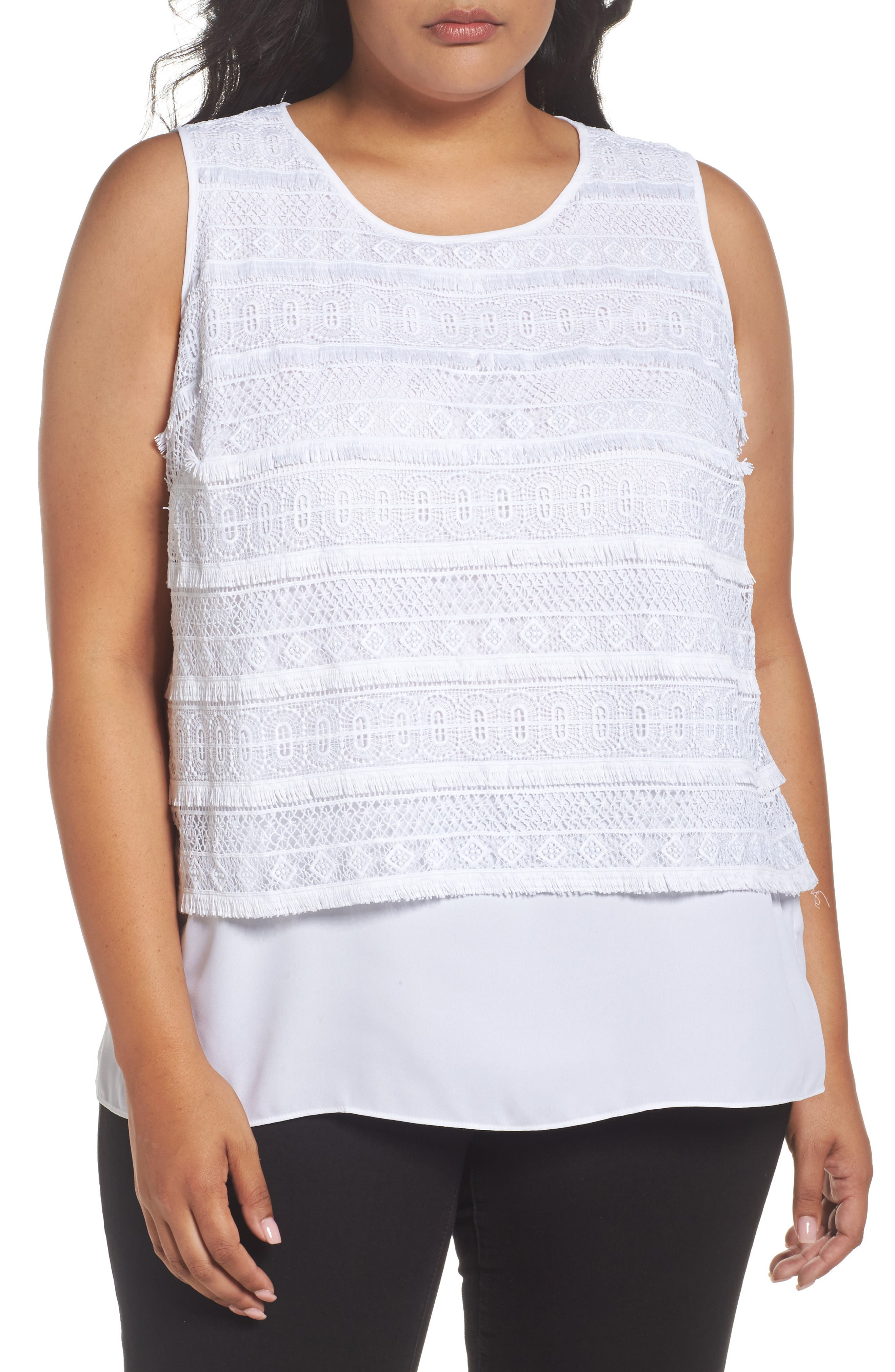 Vince Camuto Tiered Lace Top (Plus Size)