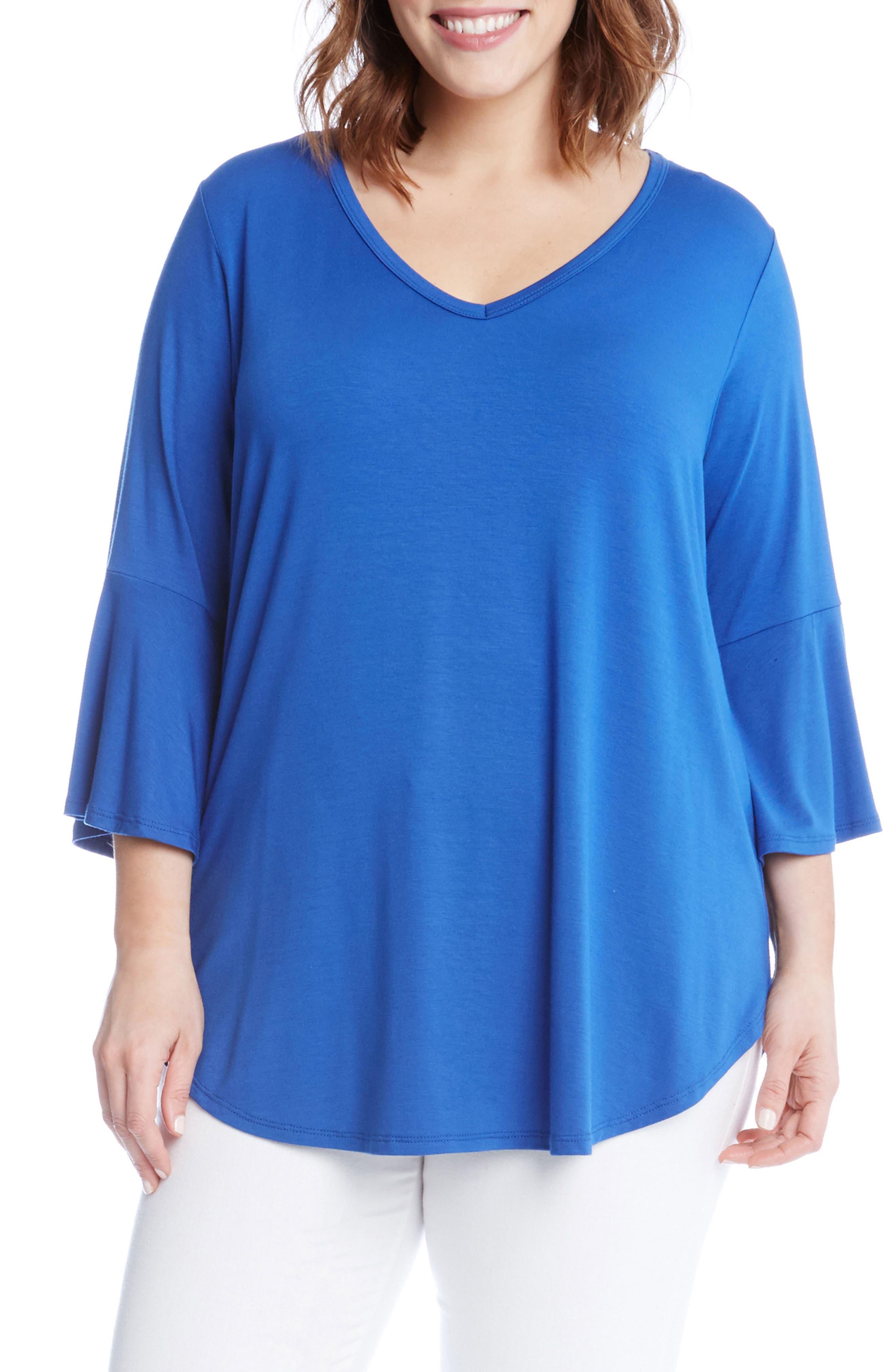 Karen Kane Bell Sleeve V-Neck Tee (Plus Size)