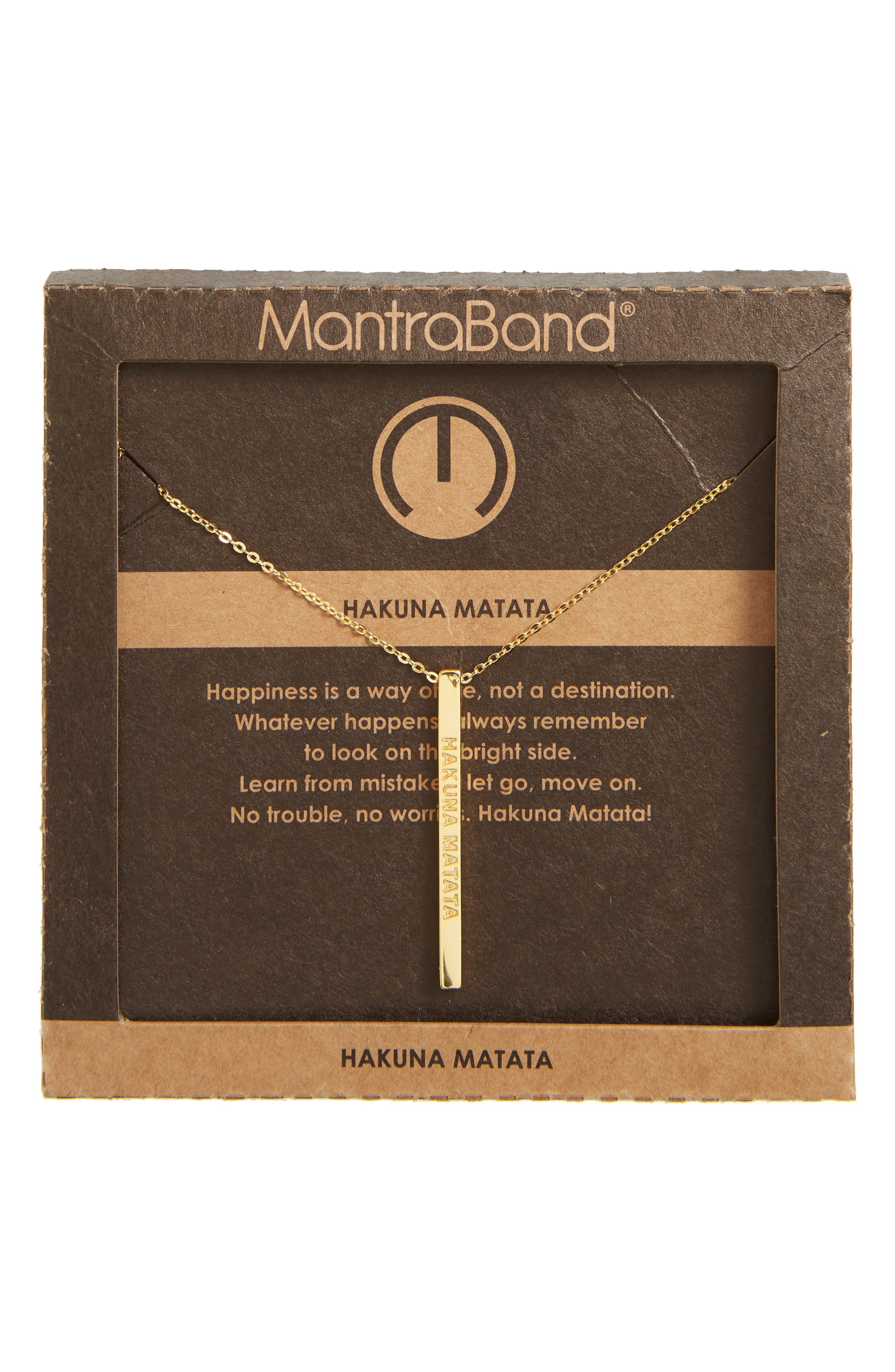 Hakuna Matata Pendant Necklace,                             Alternate thumbnail 3, color,                             Gold