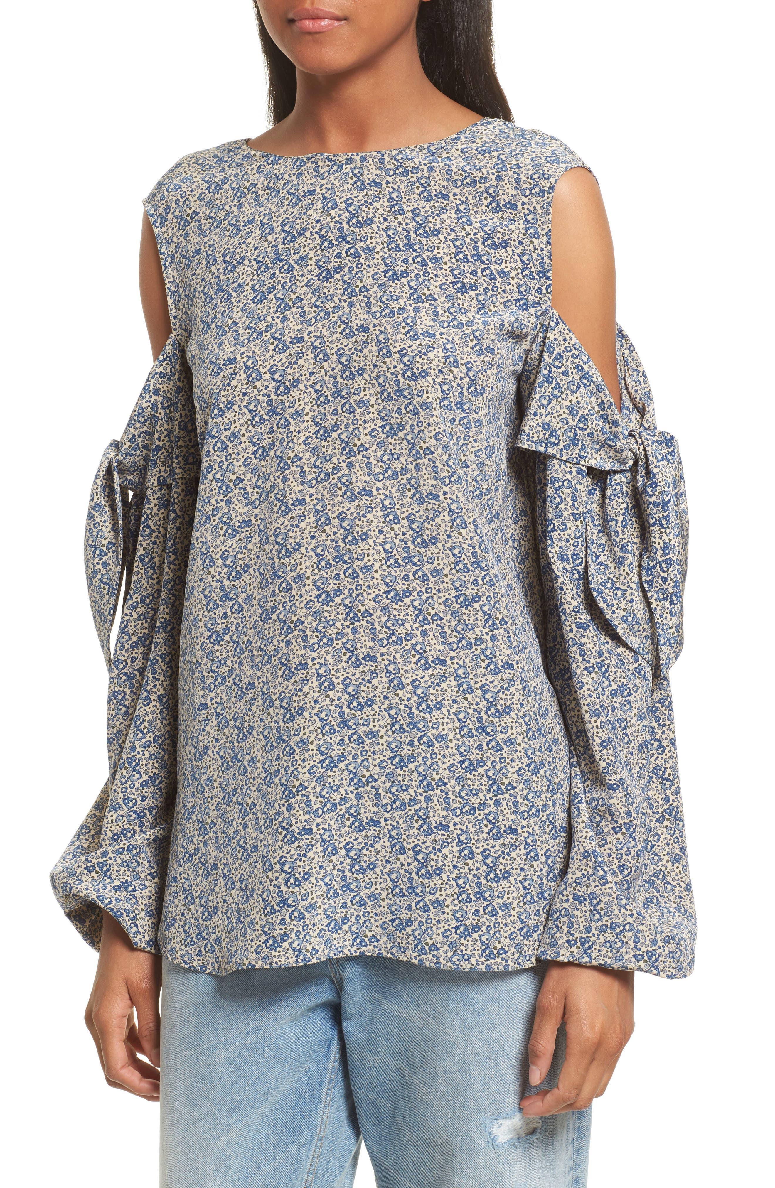 Alternate Image 4  - Robert Rodriguez Floral Print Cold Shoulder Silk Top