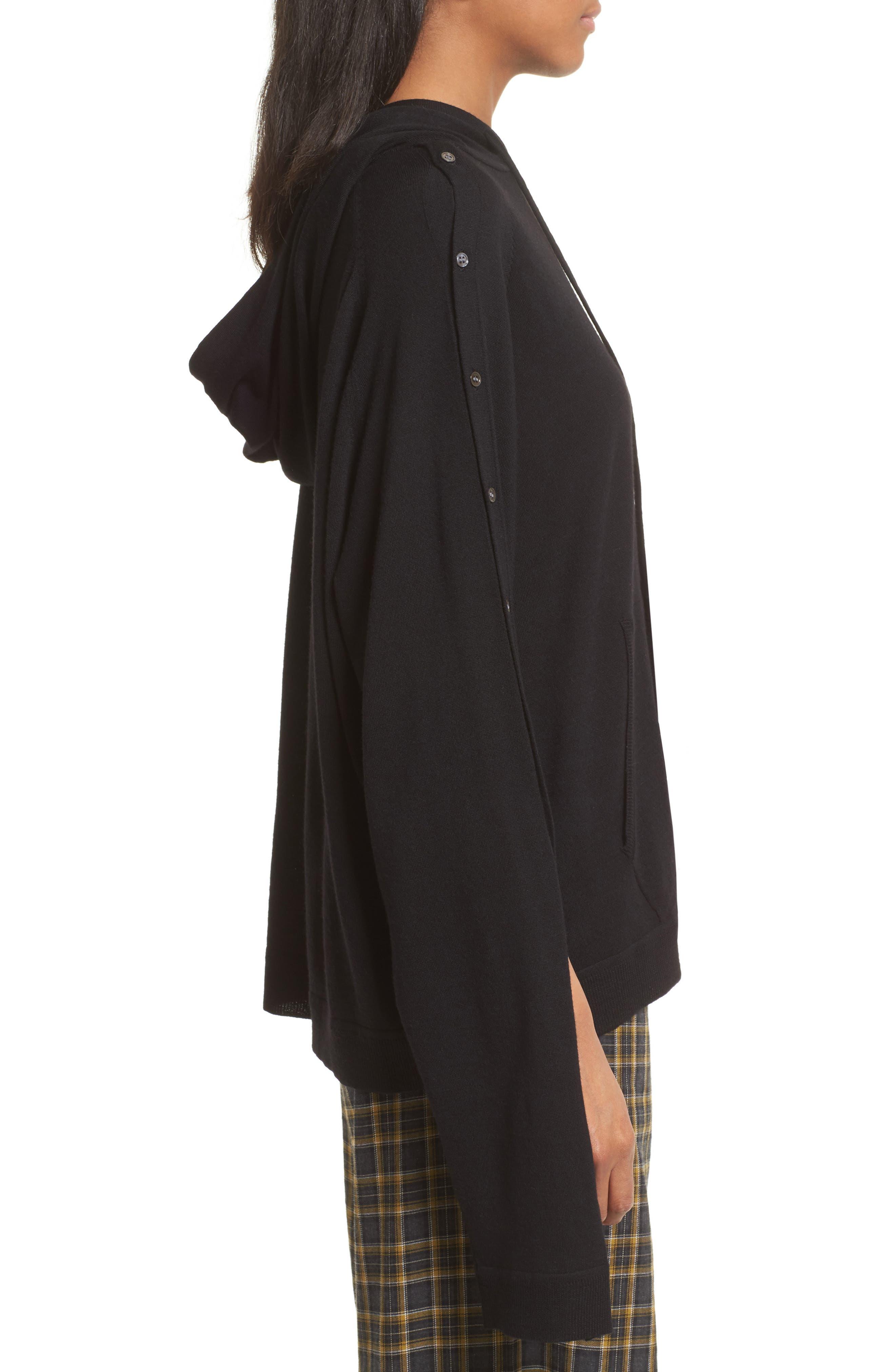 Merino Wool Reversible Hoodie,                             Alternate thumbnail 4, color,                             Black
