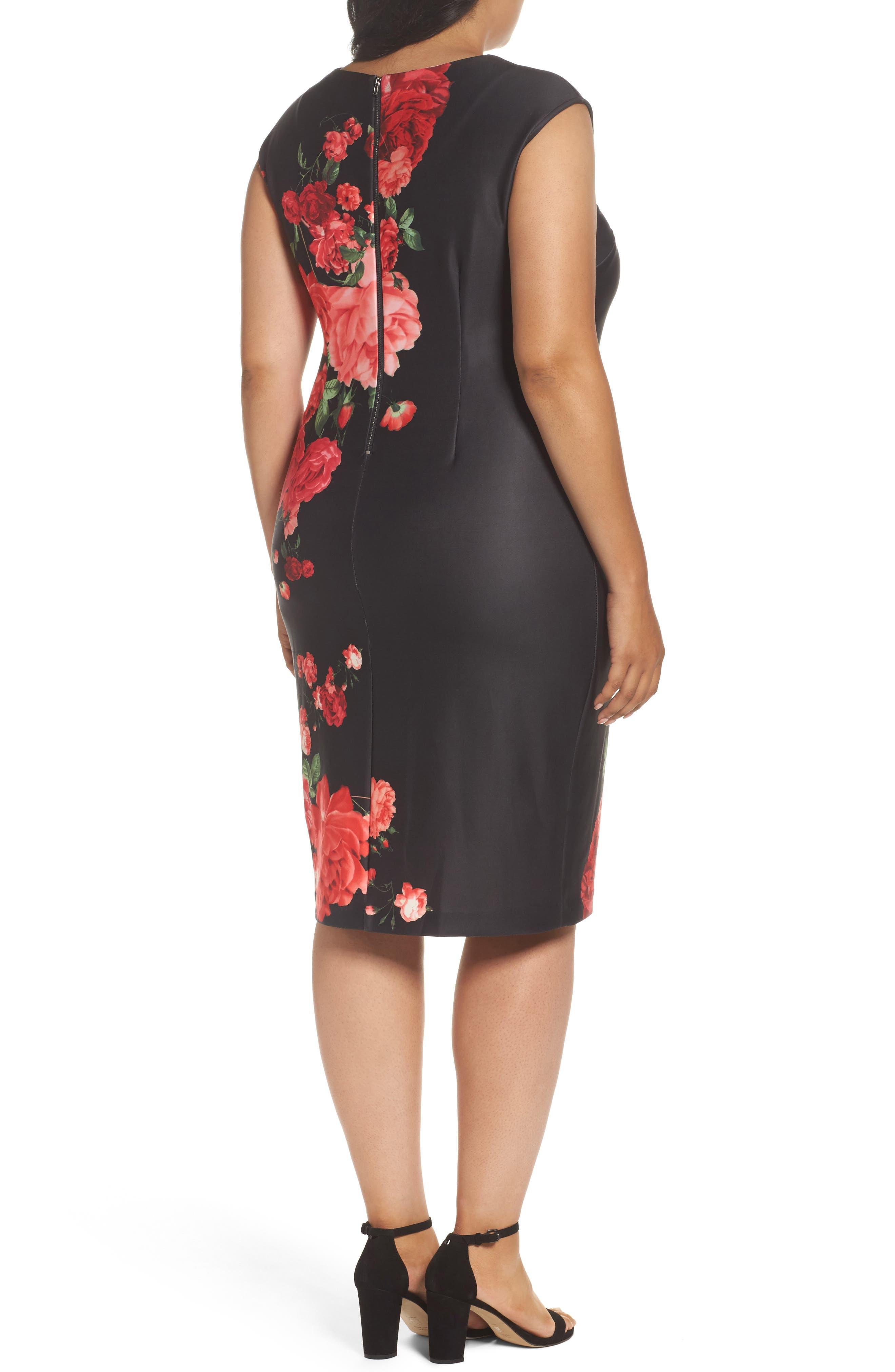 Floral Print Sheath Dress,                             Alternate thumbnail 2, color,                             Black/ Red