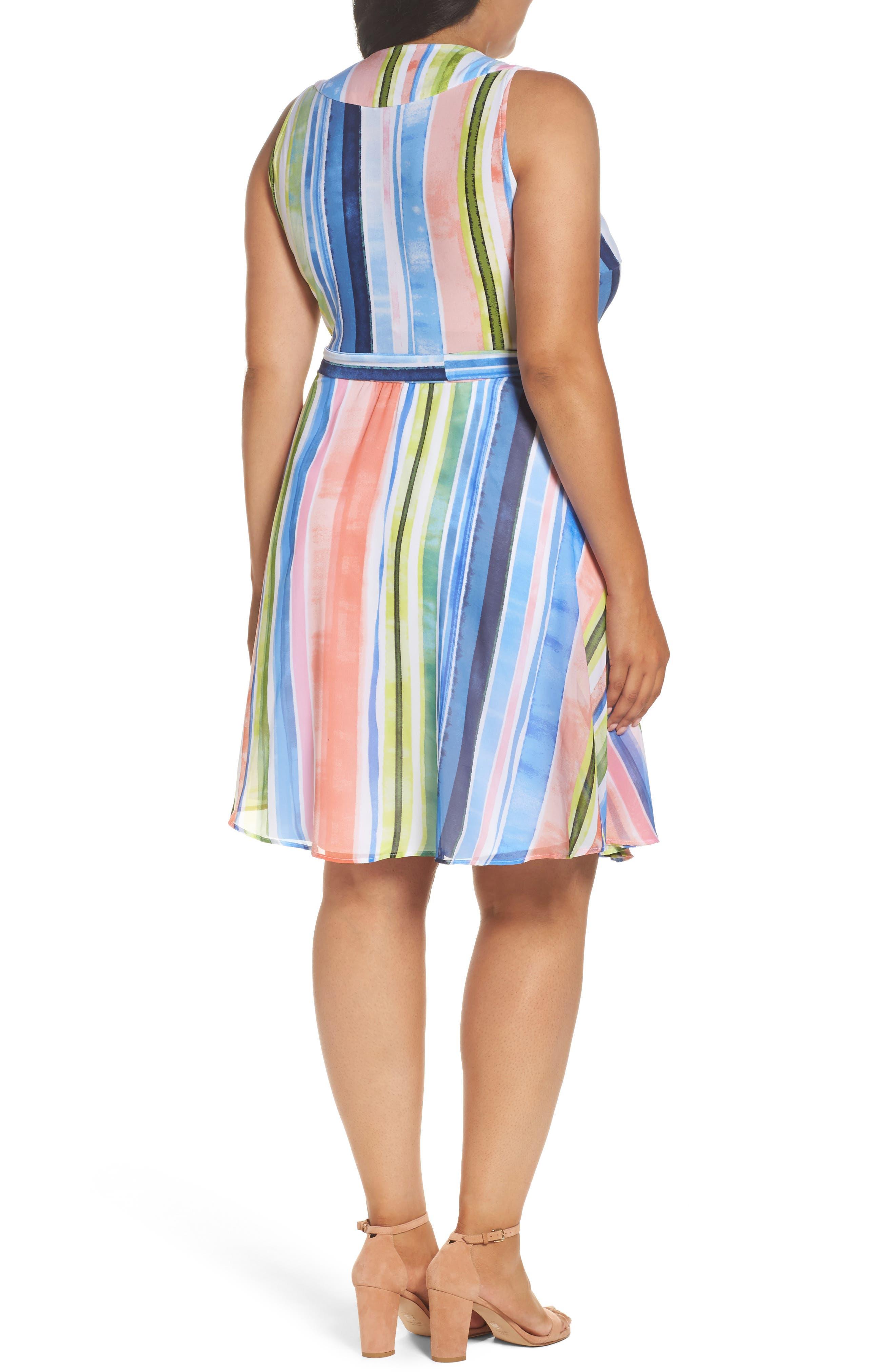 Stripe Faux Wrap Dress,                             Alternate thumbnail 2, color,                             Multi