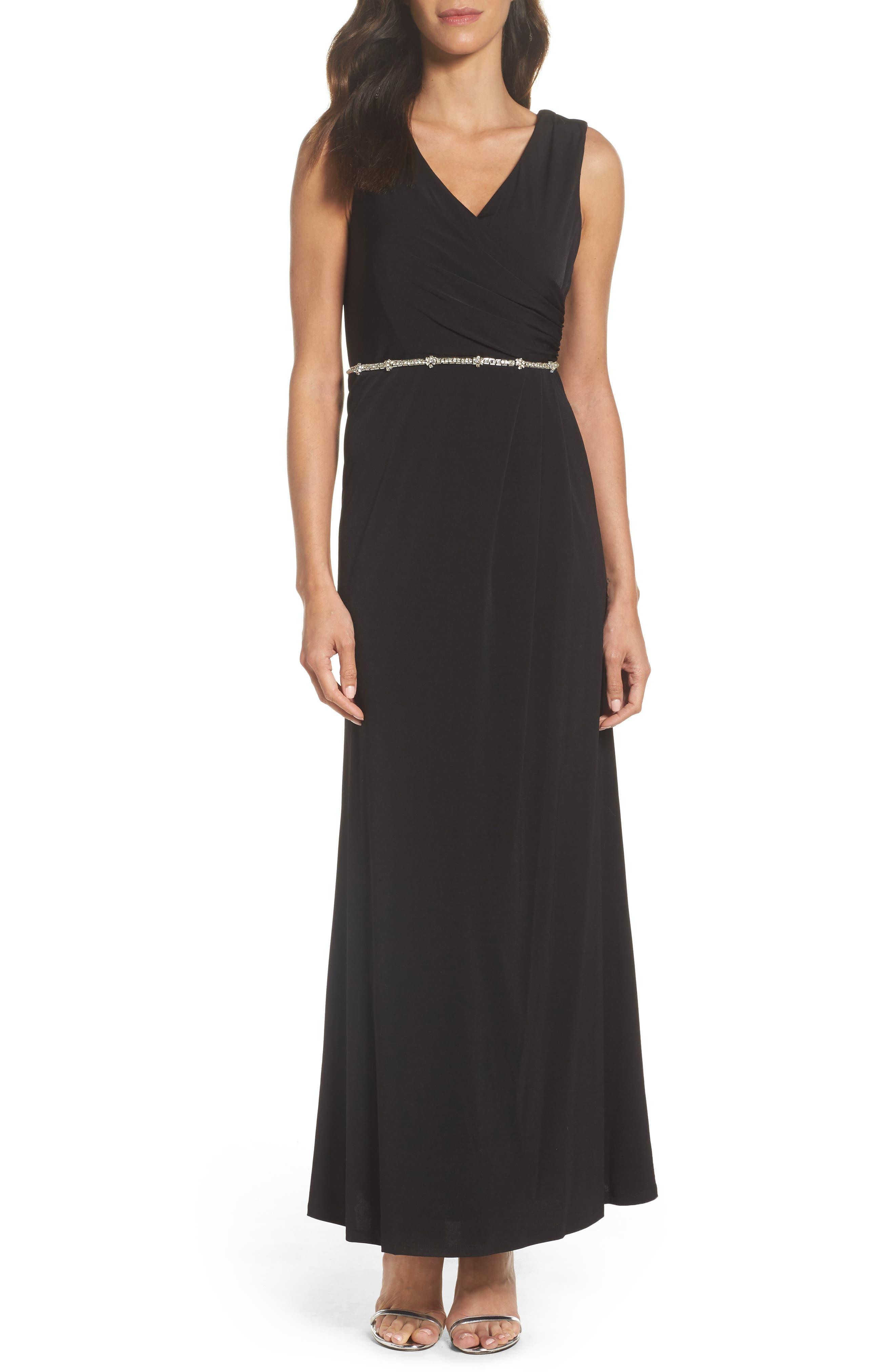 Embellished Drape Back Gown,                         Main,                         color, Black