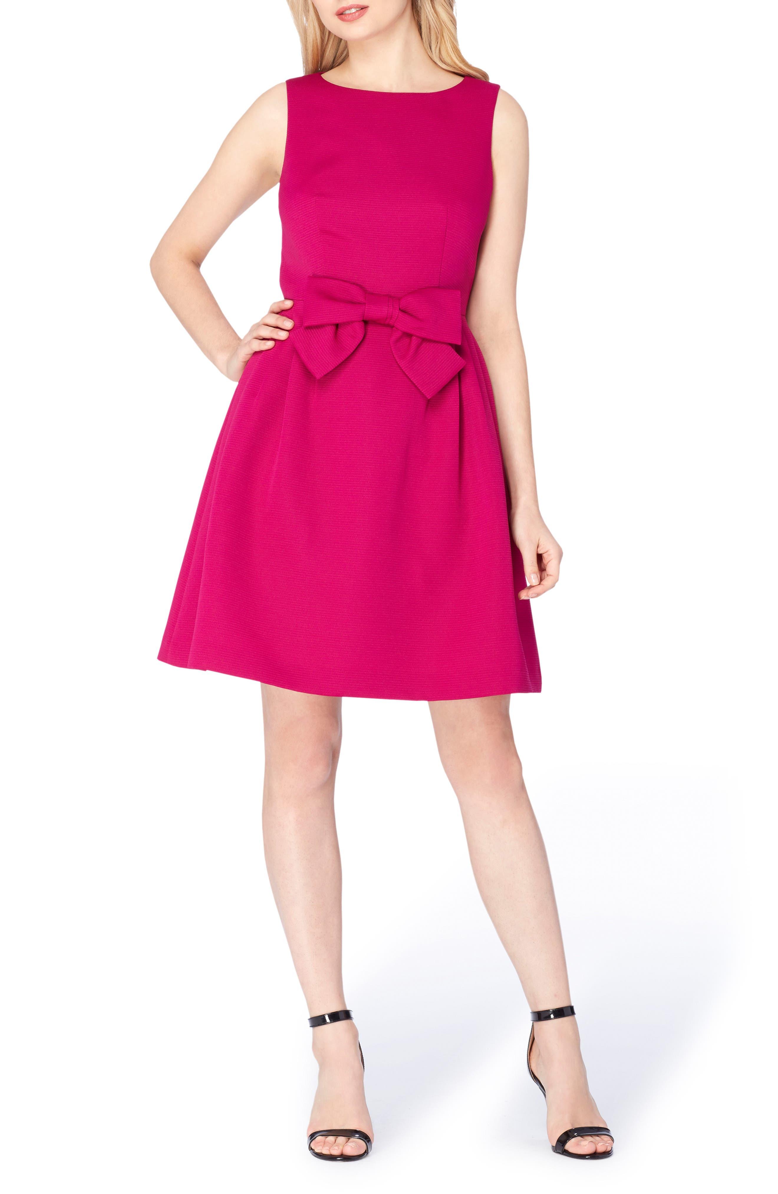 Tahari Bow Fit & Flare Dress (Petite)