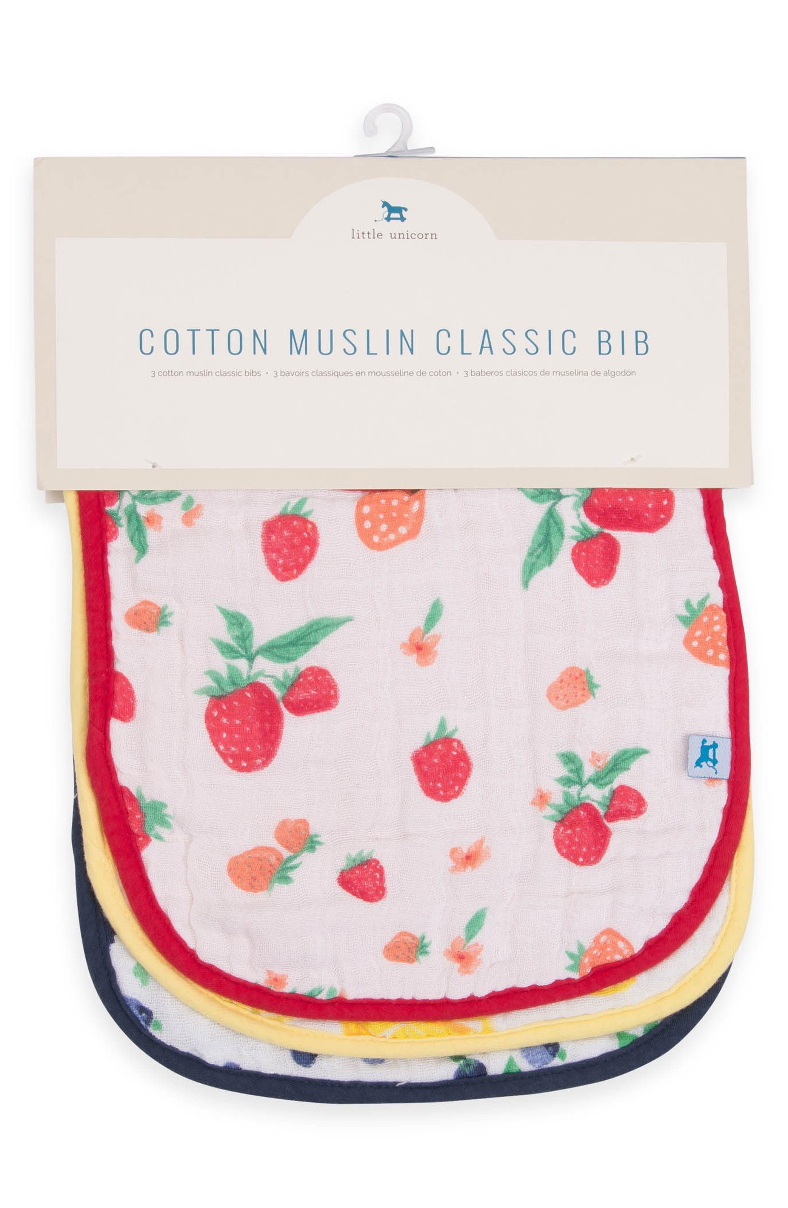 2-Pack Classic Cotton Muslin Bibs,                             Alternate thumbnail 2, color,                             Berry Lemonade