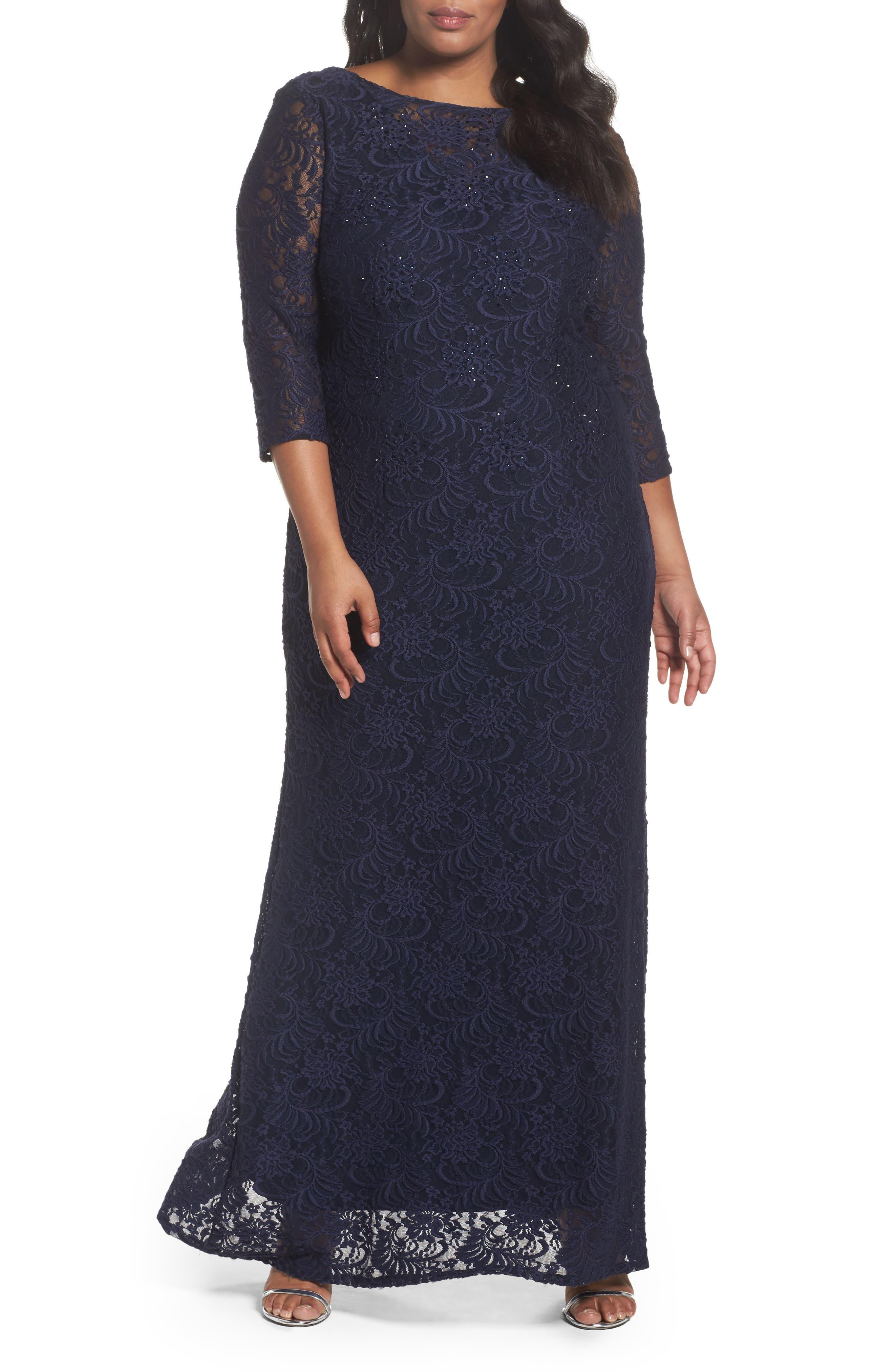 Alex Evenings Lace A-Line Gown (Plus Size)
