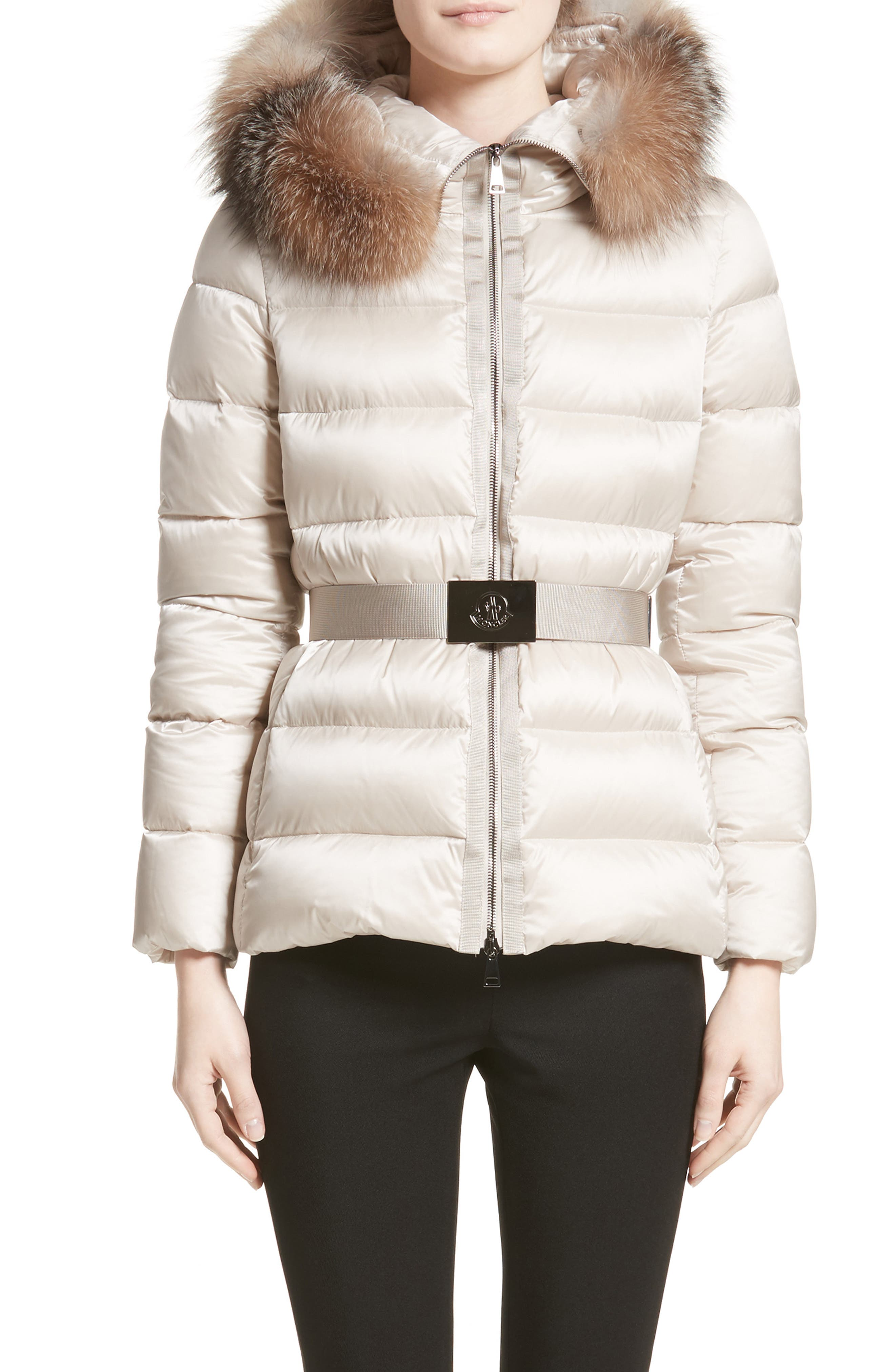'Tatie' Belted Down Puffer Coat with Removable Genuine Fox Fur Trim,                         Main,                         color, Champagne