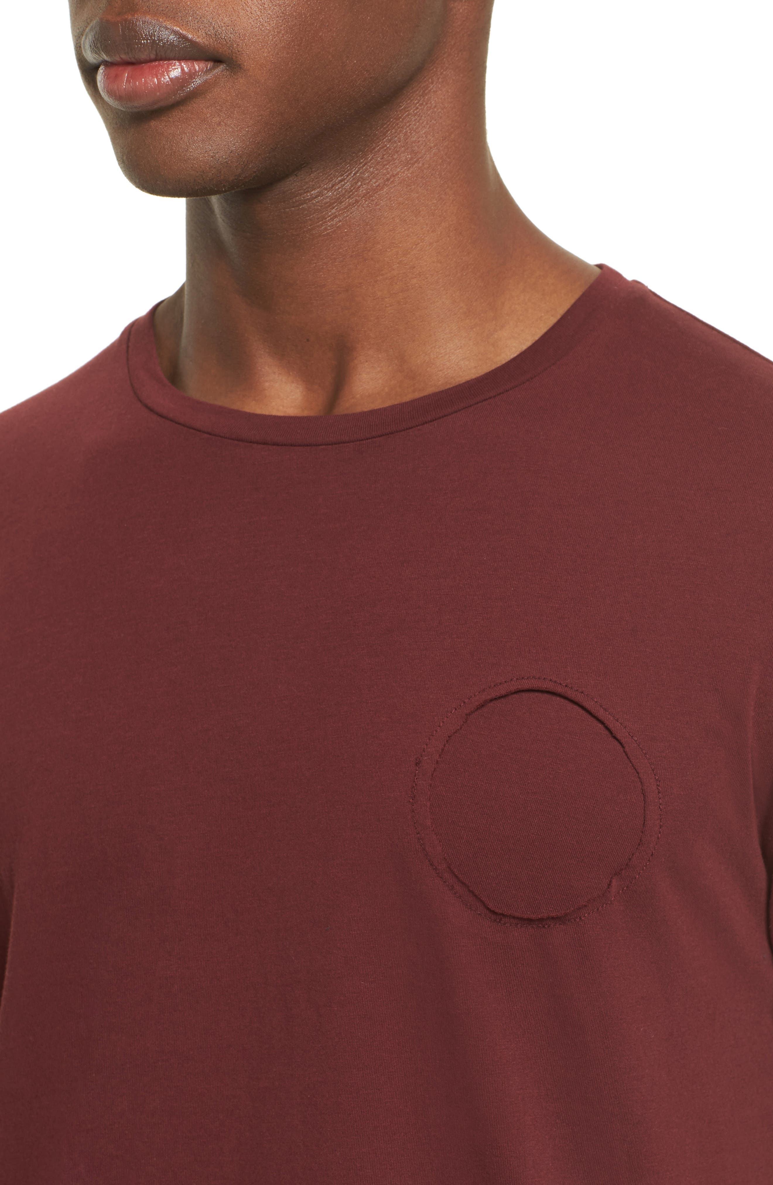Contrast Cuff T-Shirt,                             Alternate thumbnail 4, color,                             Maroon