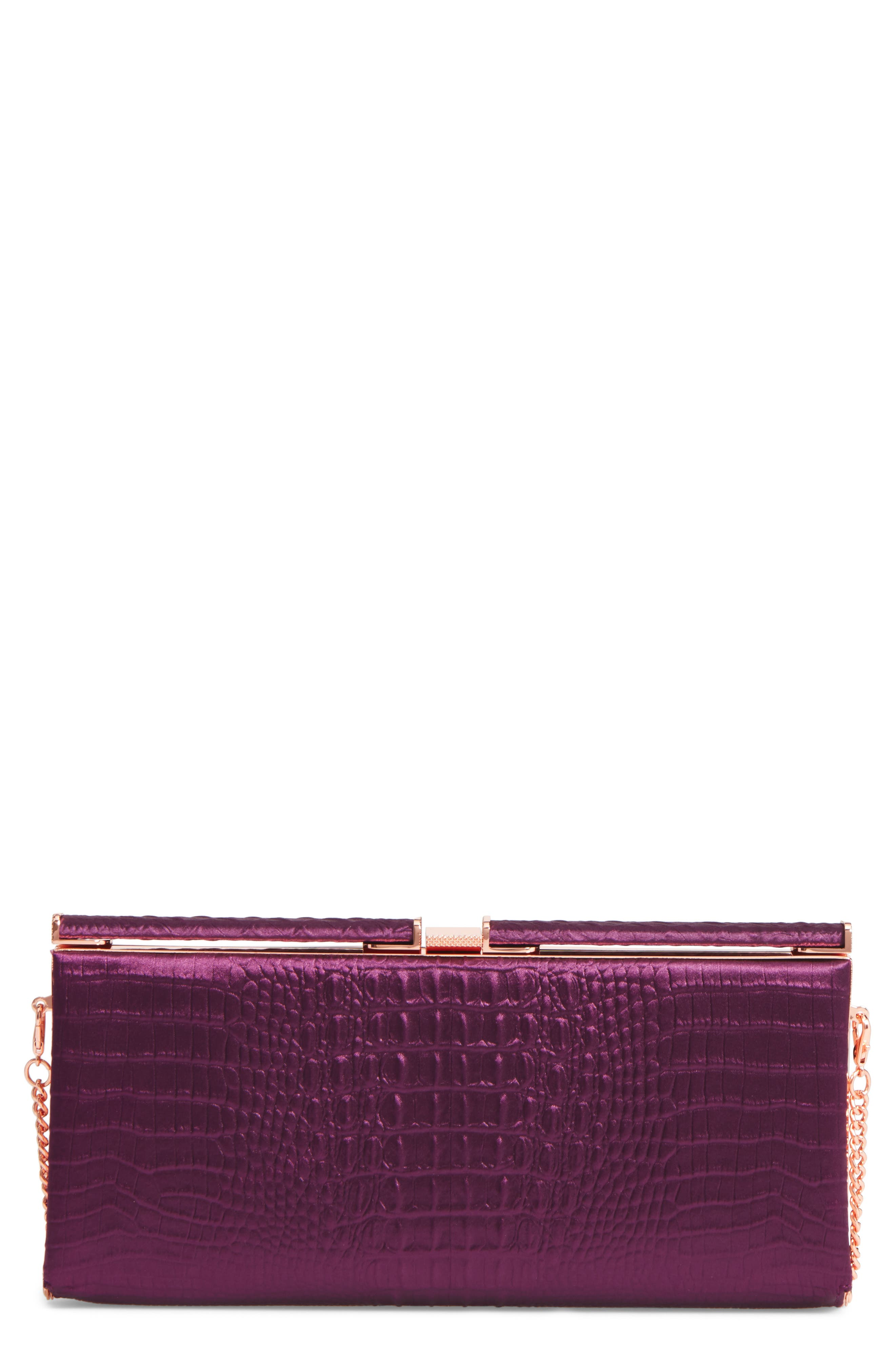 Ted Baker Darciee Embossed Frame Clutch,                         Main,                         color, Purple