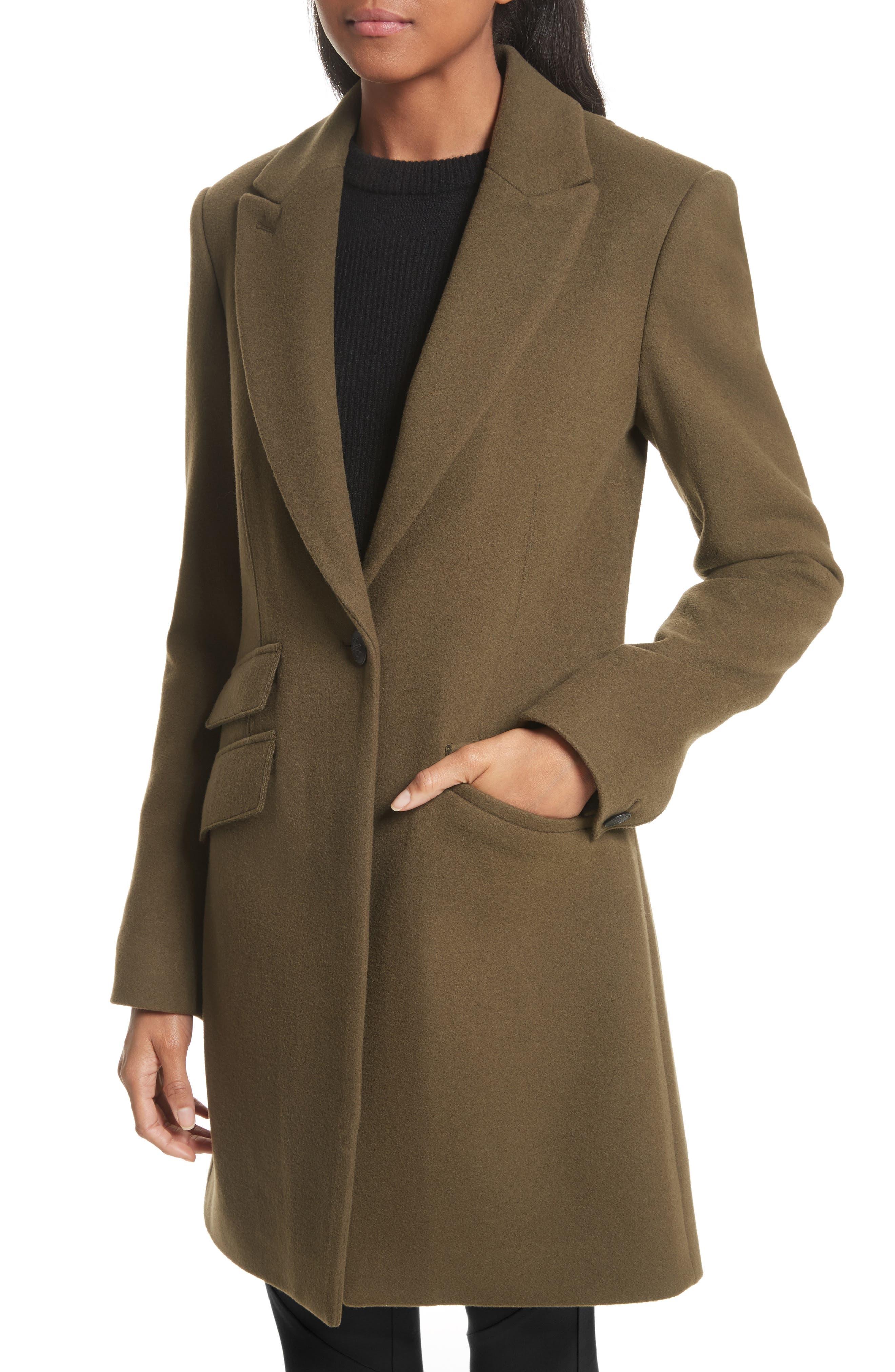 Duchess Wool Blend Coat,                             Alternate thumbnail 5, color,                             Olive
