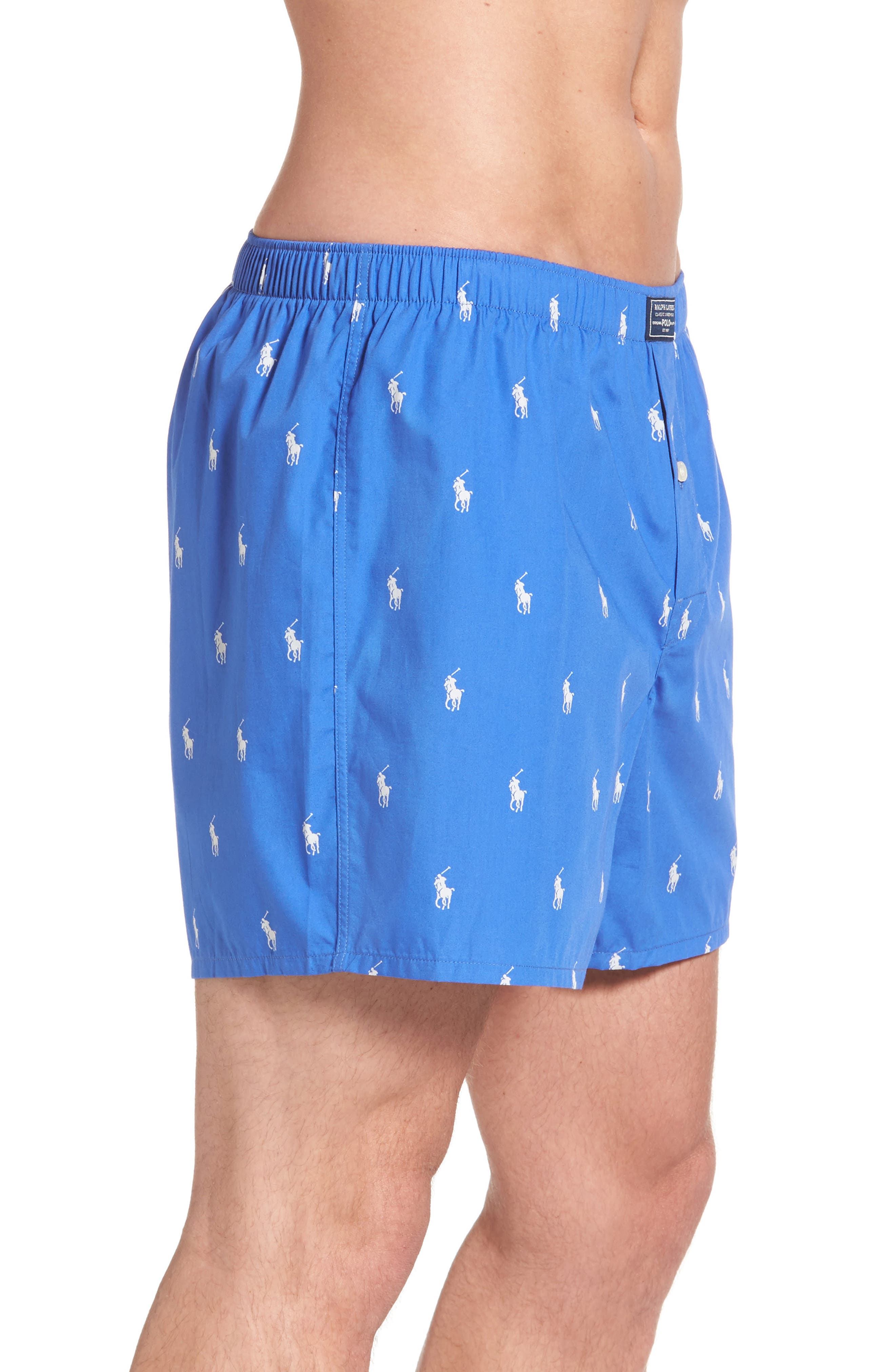 Polo Player Woven Cotten Boxers,                             Alternate thumbnail 3, color,                             Racer Blue