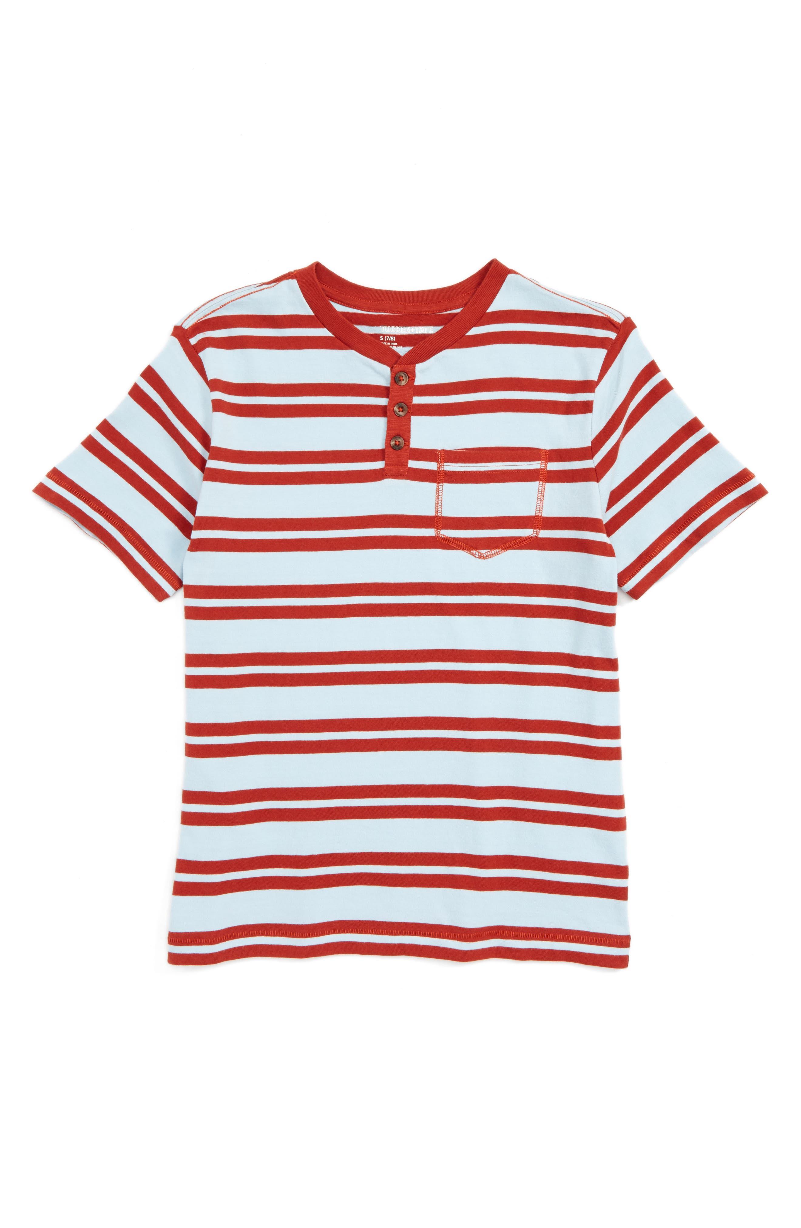 Stripe Henley,                         Main,                         color, Blue Gem- Red Stripe