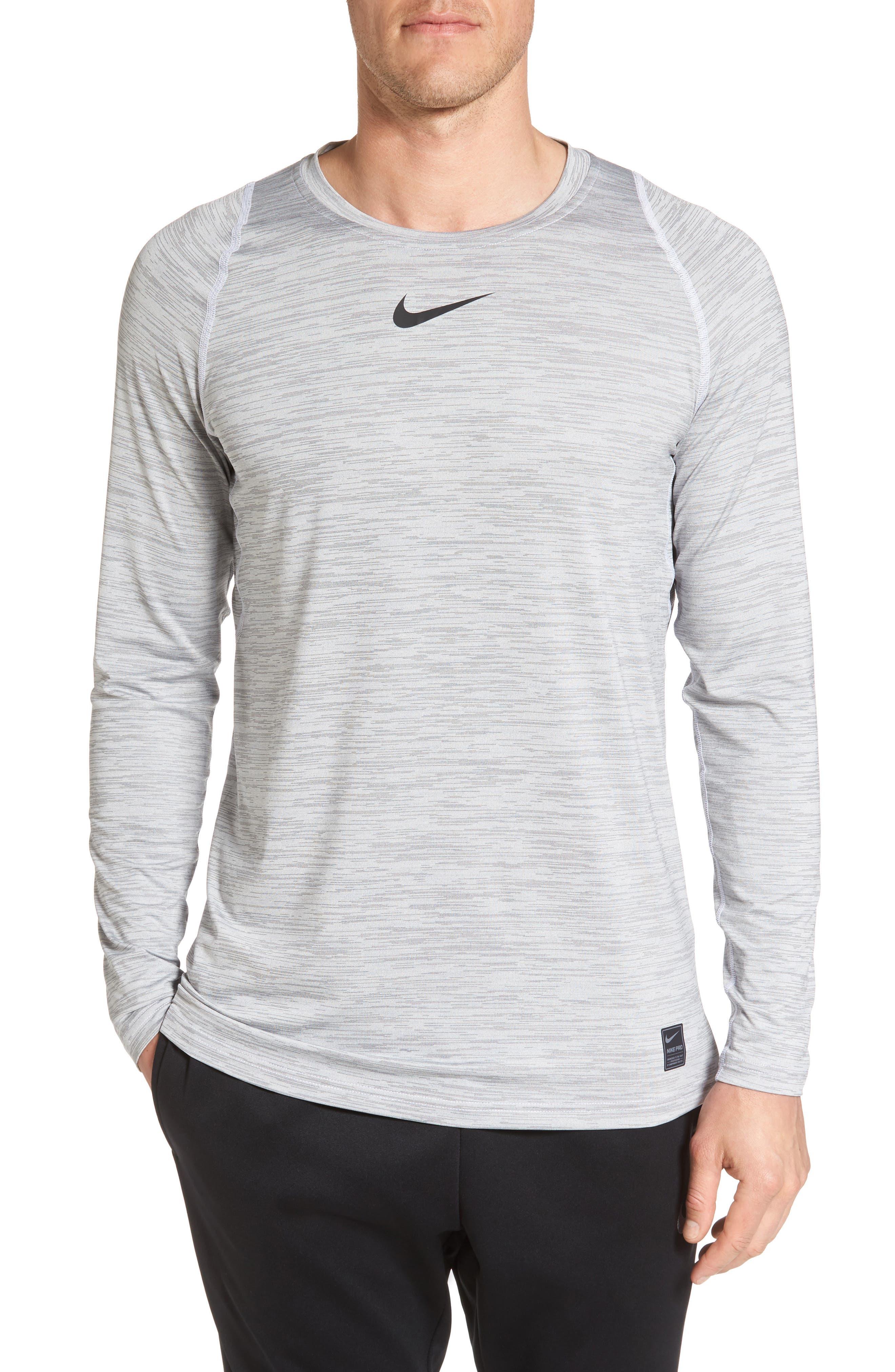 Pro Long Sleeve T-Shirt,                         Main,                         color, White/ White/ Black