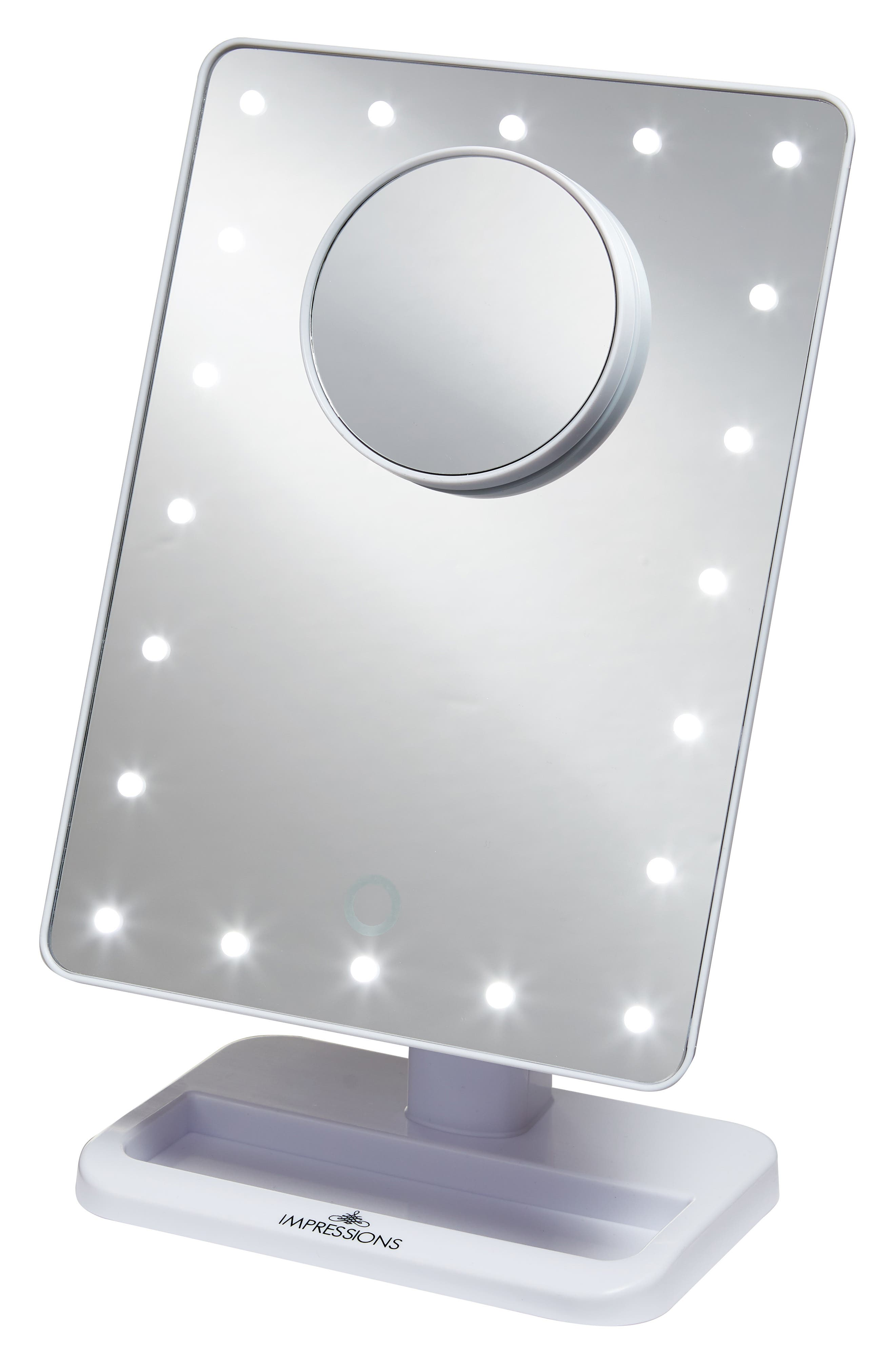 Touch XL Dimmable LED Makeup Mirror with Removable 5x Mirror,                             Main thumbnail 1, color,                             White