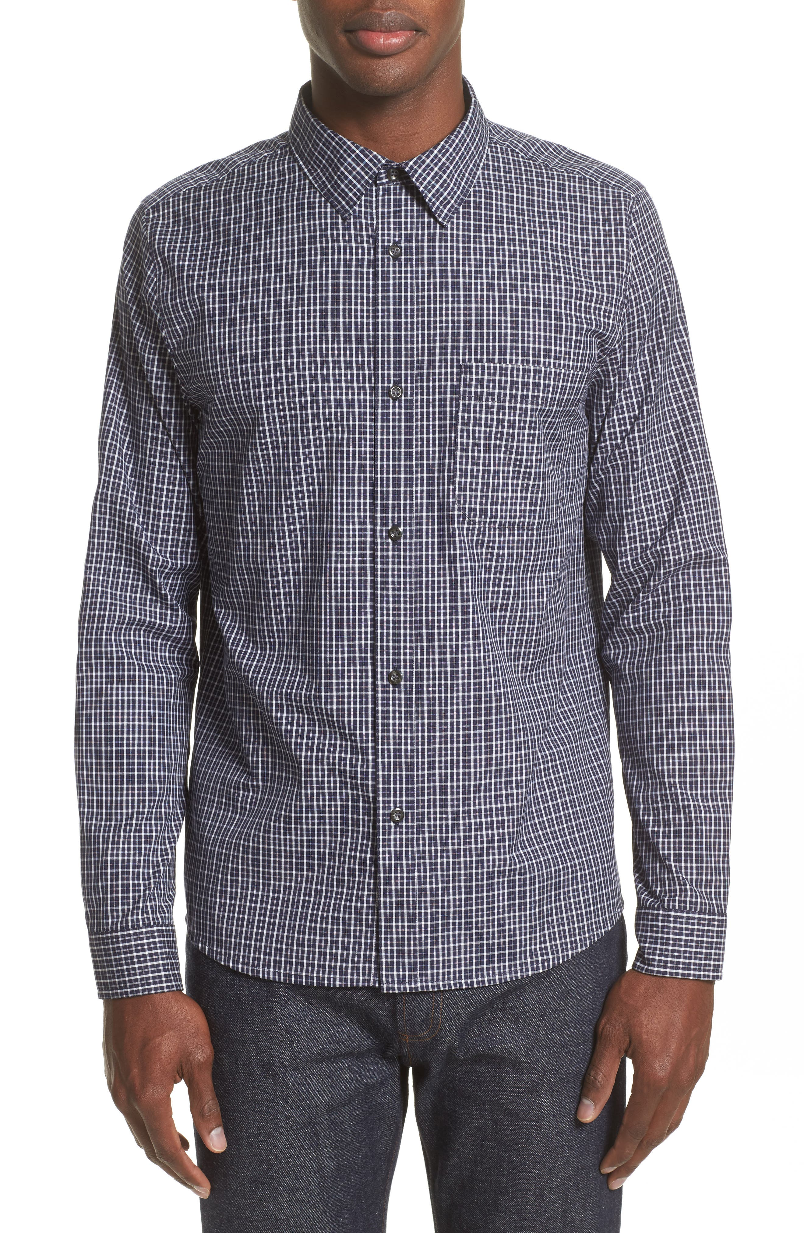 Alternate Image 1 Selected - A.P.C. Chemise Trek Woven Check Sport Shirt