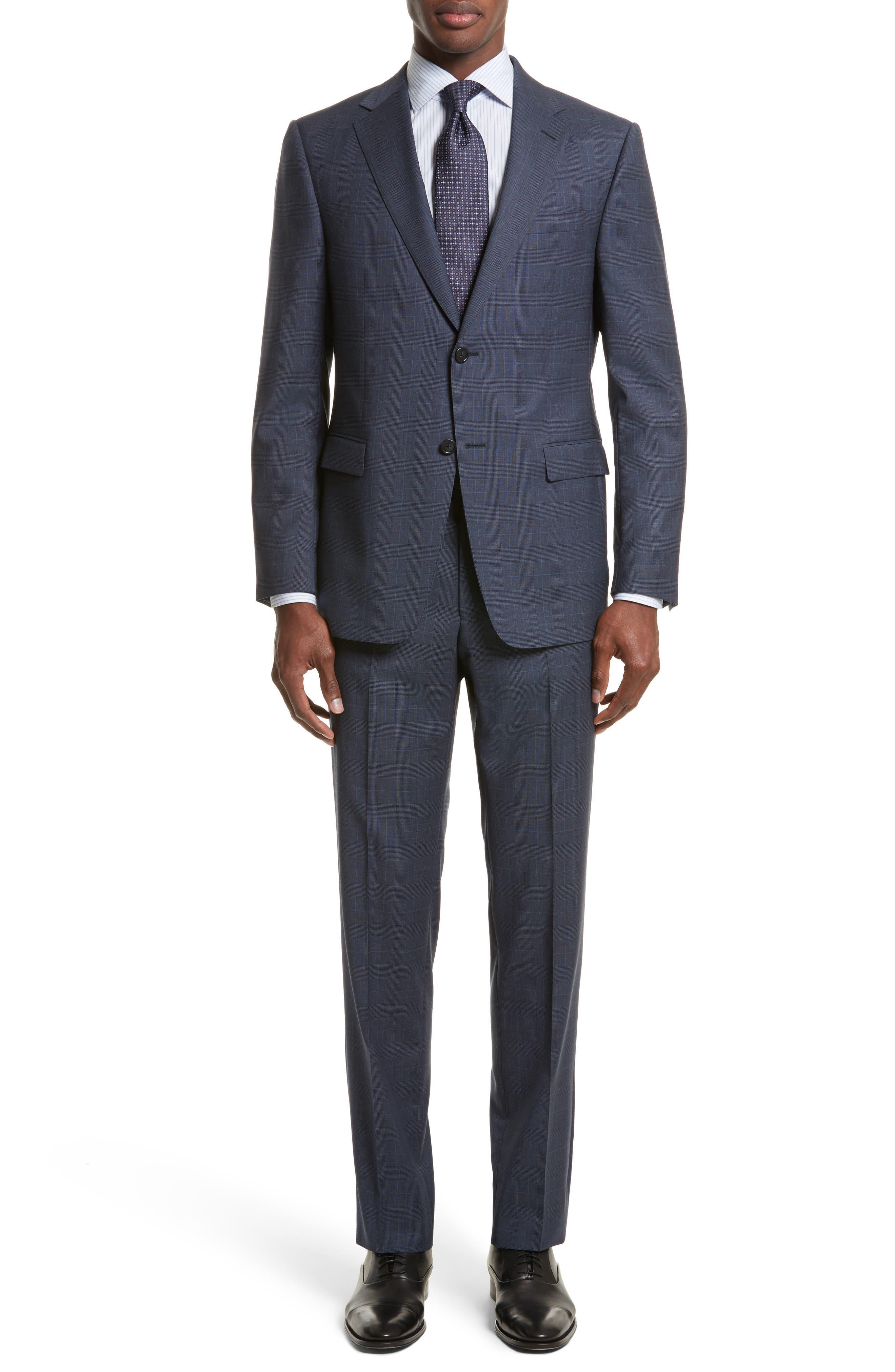 Drop 7 Trim Fit Plaid Wool Suit,                         Main,                         color, Navy