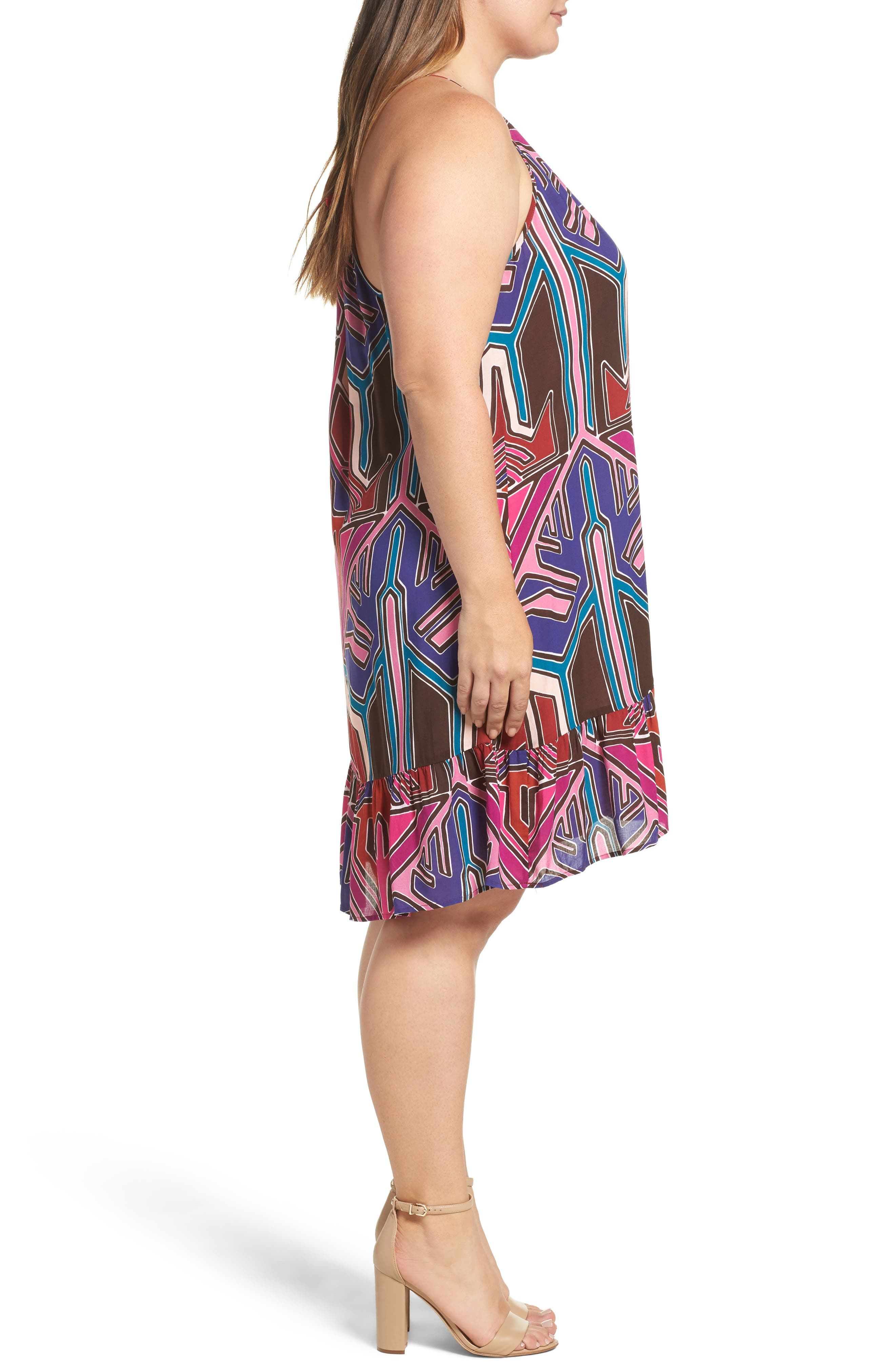 Angelica A-Line Shift Dress,                             Alternate thumbnail 4, color,                             Painted Aztec