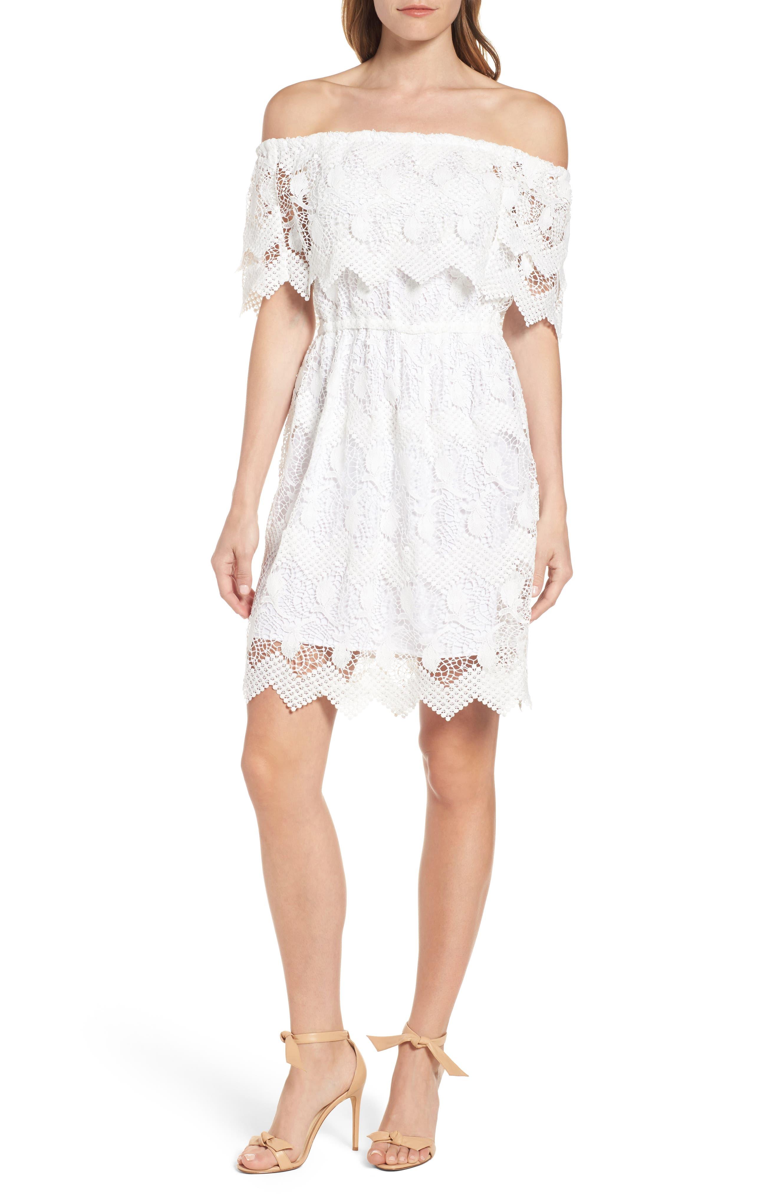 KOBI HALPERIN Alva Off the Shoulder Lace Dress