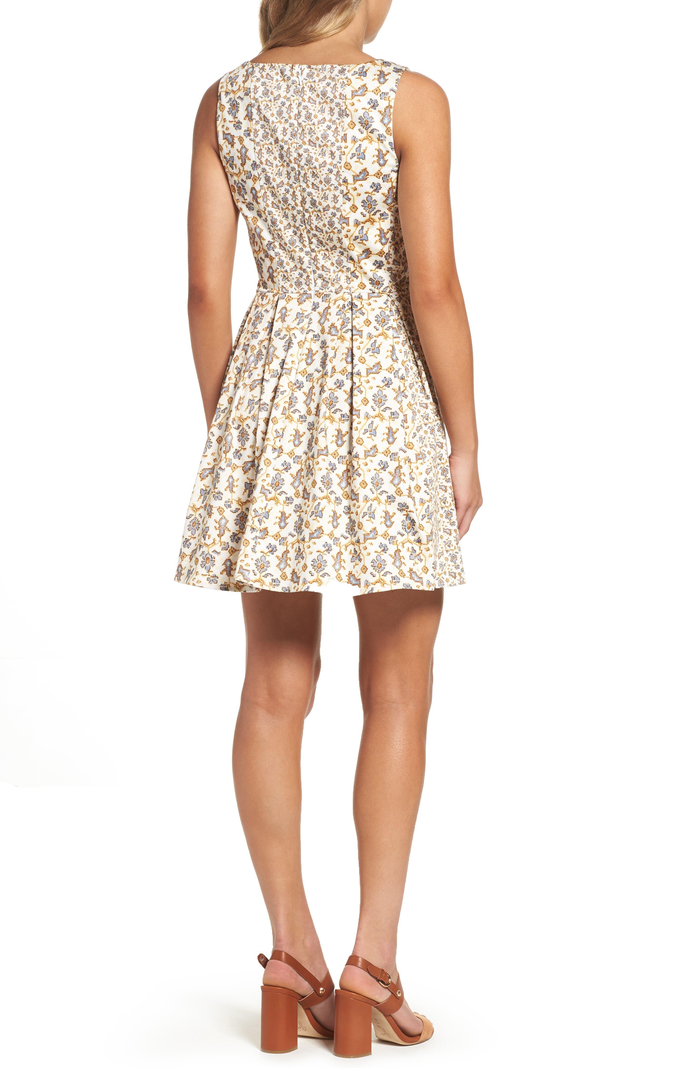 Niko Fit & Flare Dress,                             Alternate thumbnail 2, color,                             Summer White Multi