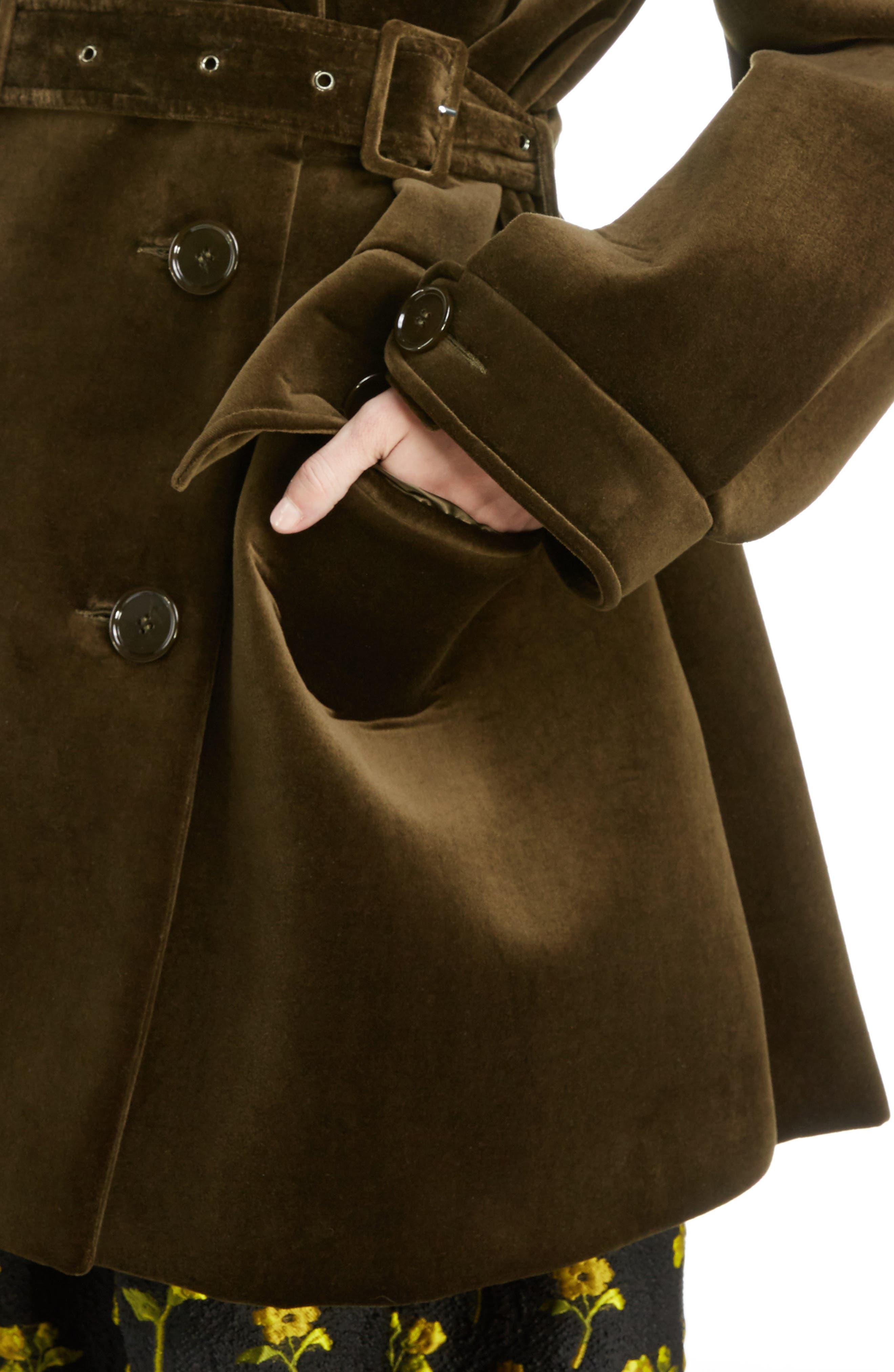 Belted Velvet Biker Jacket,                             Alternate thumbnail 4, color,                             Khaki