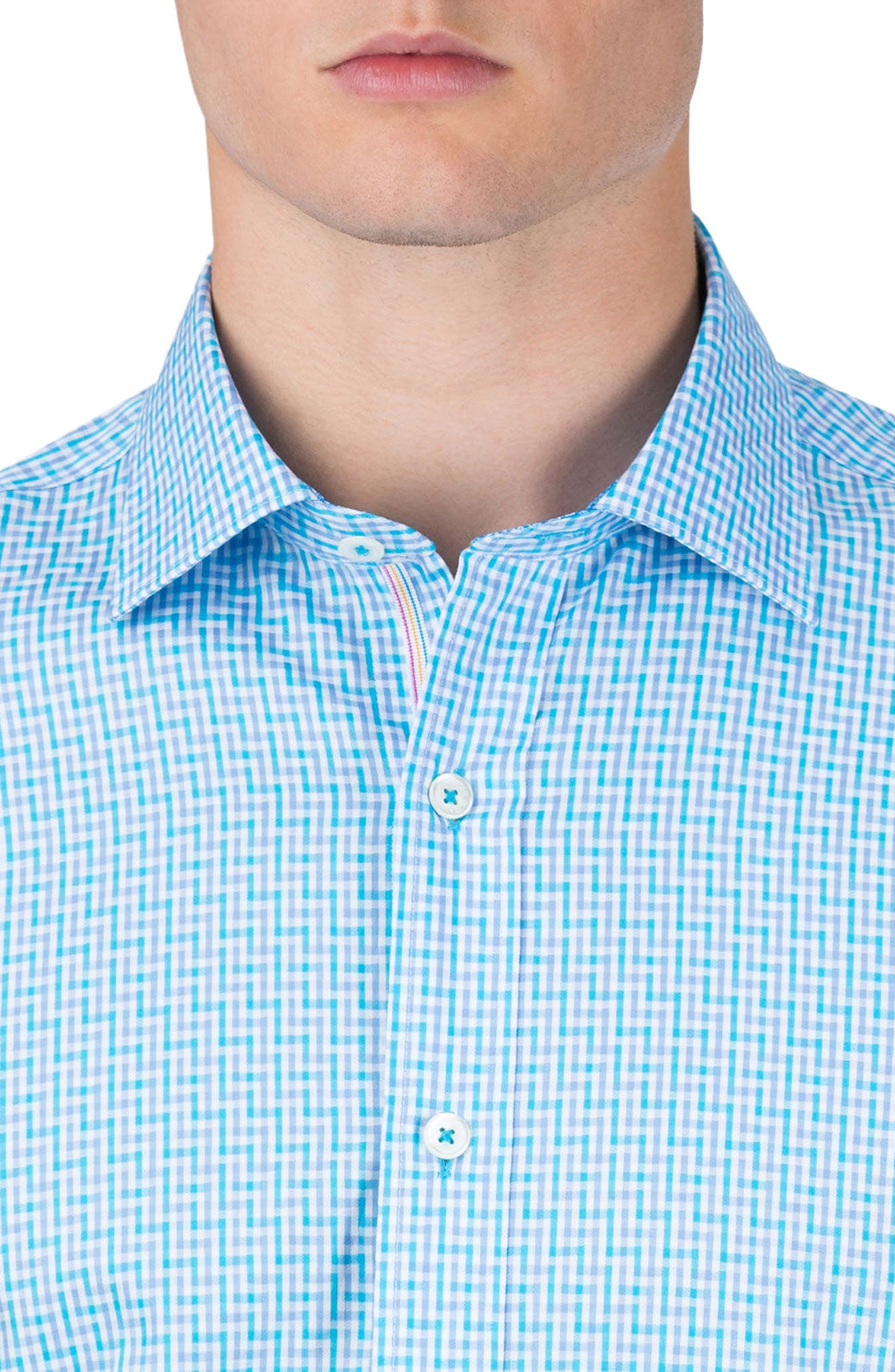 Classic Fit Check Sport Shirt,                             Alternate thumbnail 3, color,                             Turquoise