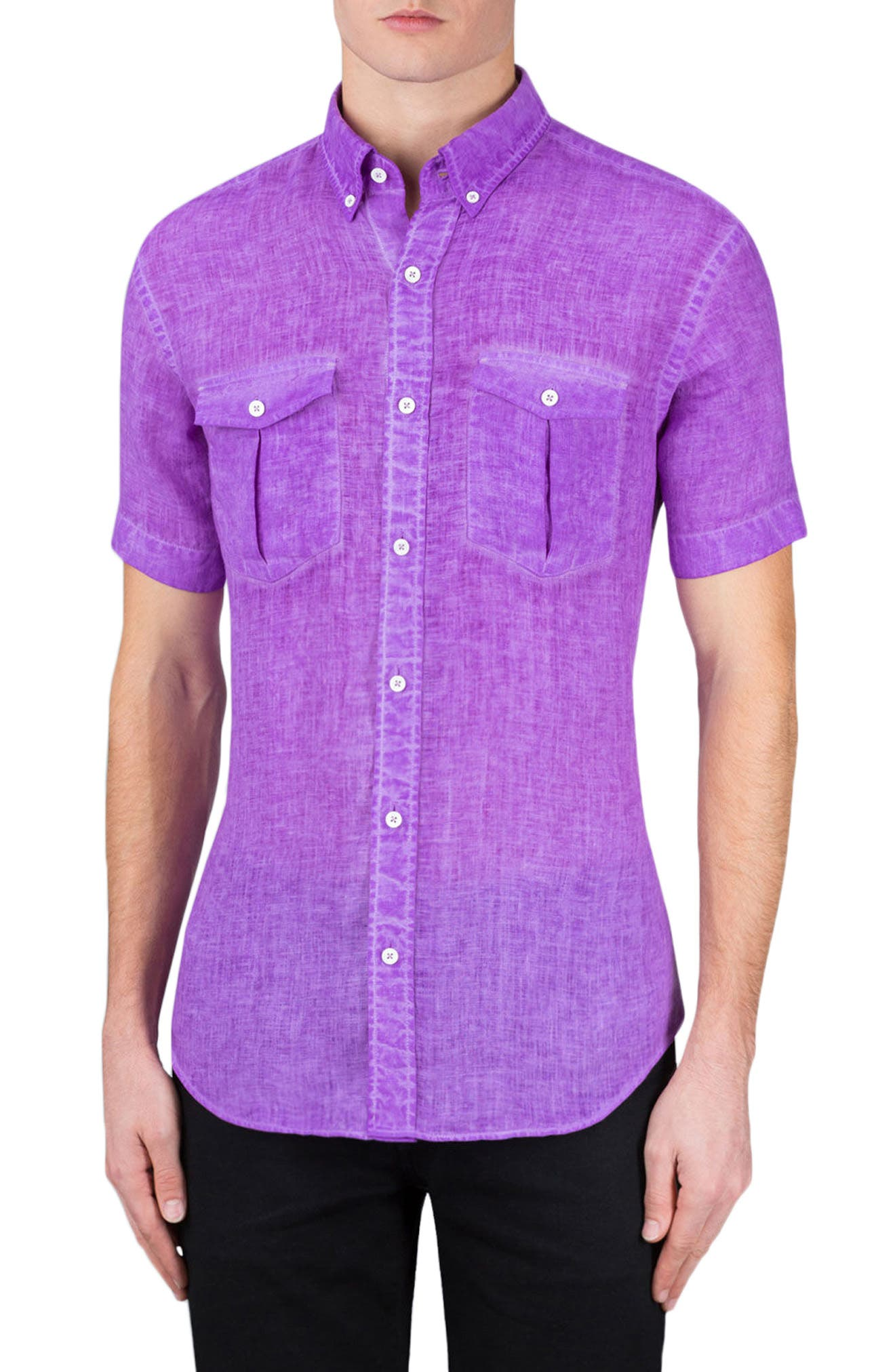 Shaped Fit Linen Sport Shirt,                             Main thumbnail 1, color,                             Orchid