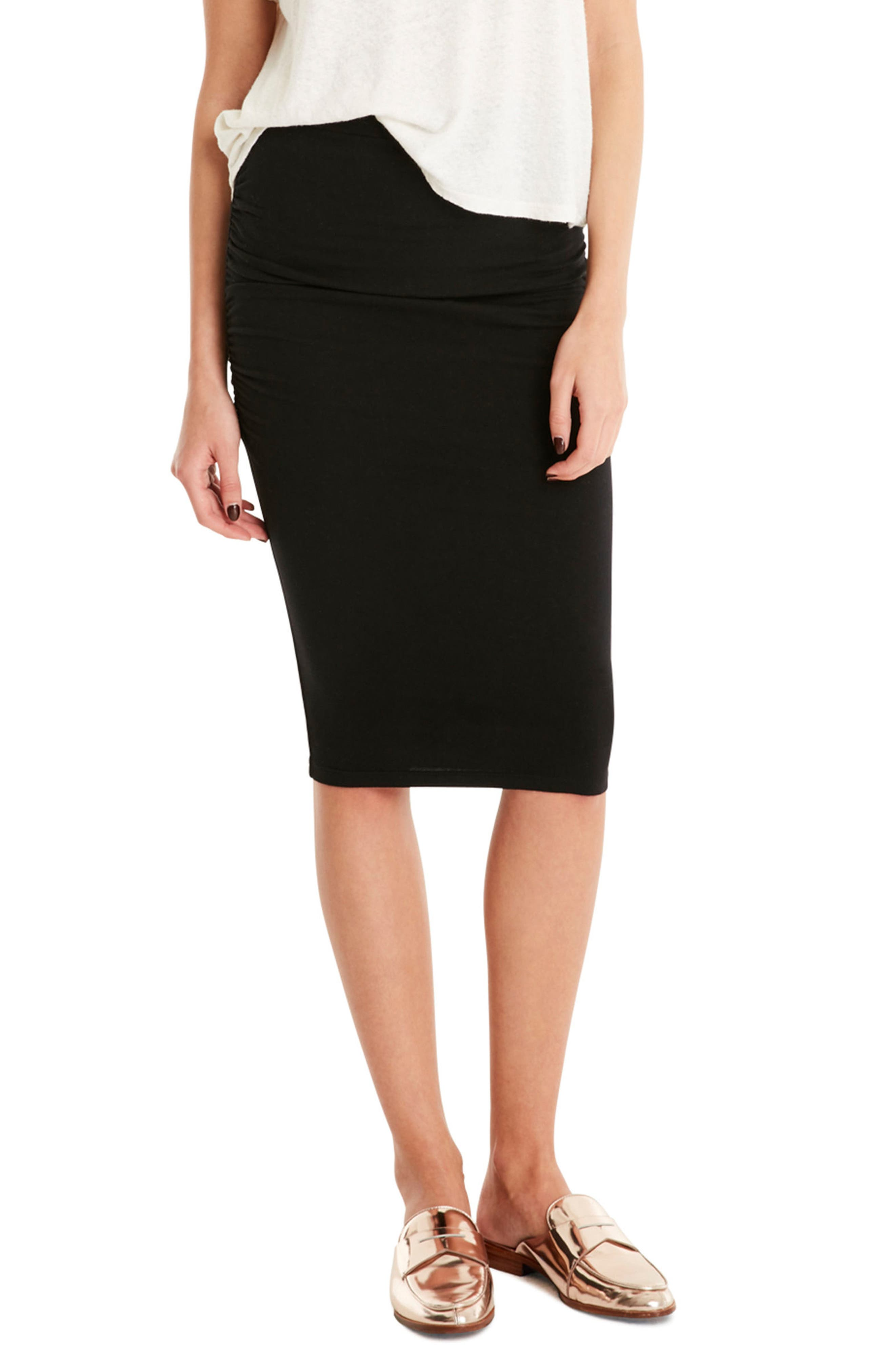 Ruched Pencil Skirt,                             Main thumbnail 1, color,                             Black