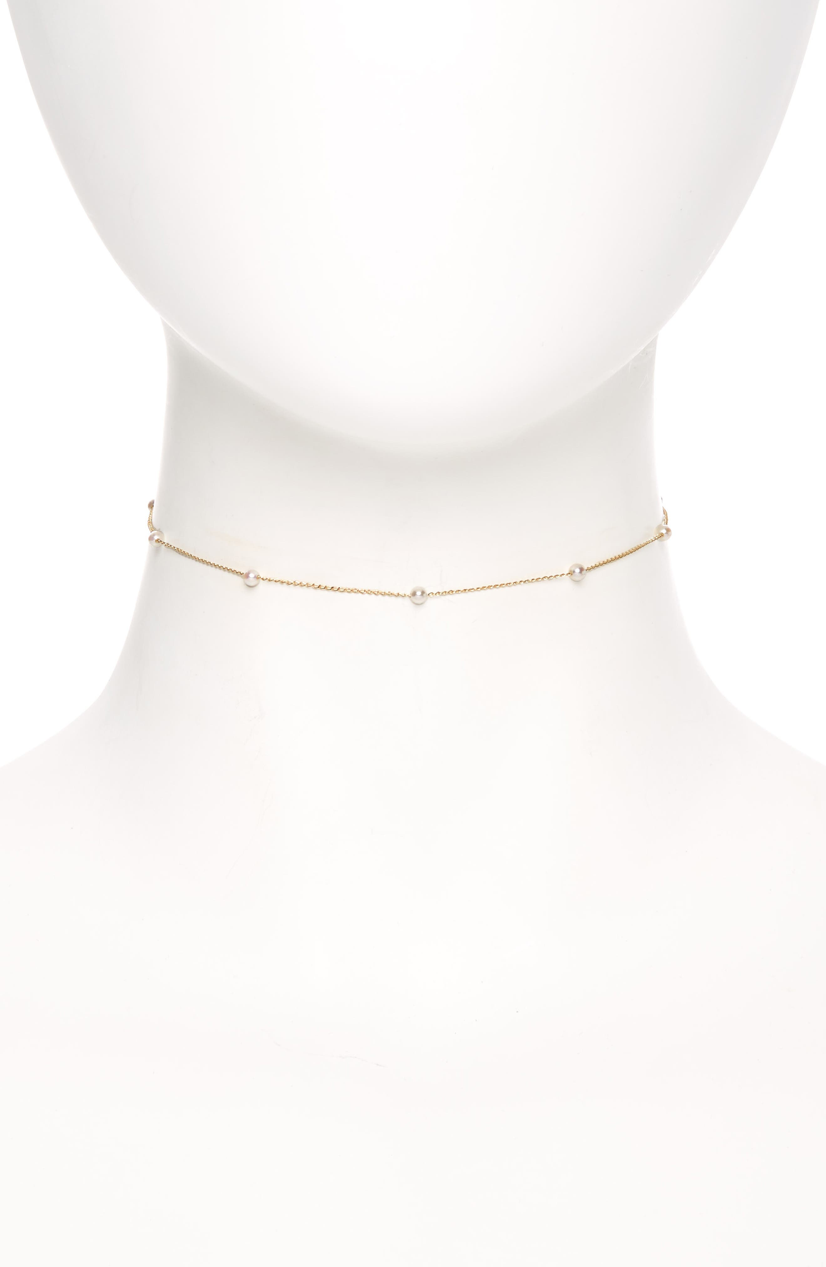 Sea of Beauty Pearl Chain Choker,                             Main thumbnail 1, color,                             Yellow Gold/ White Pearl
